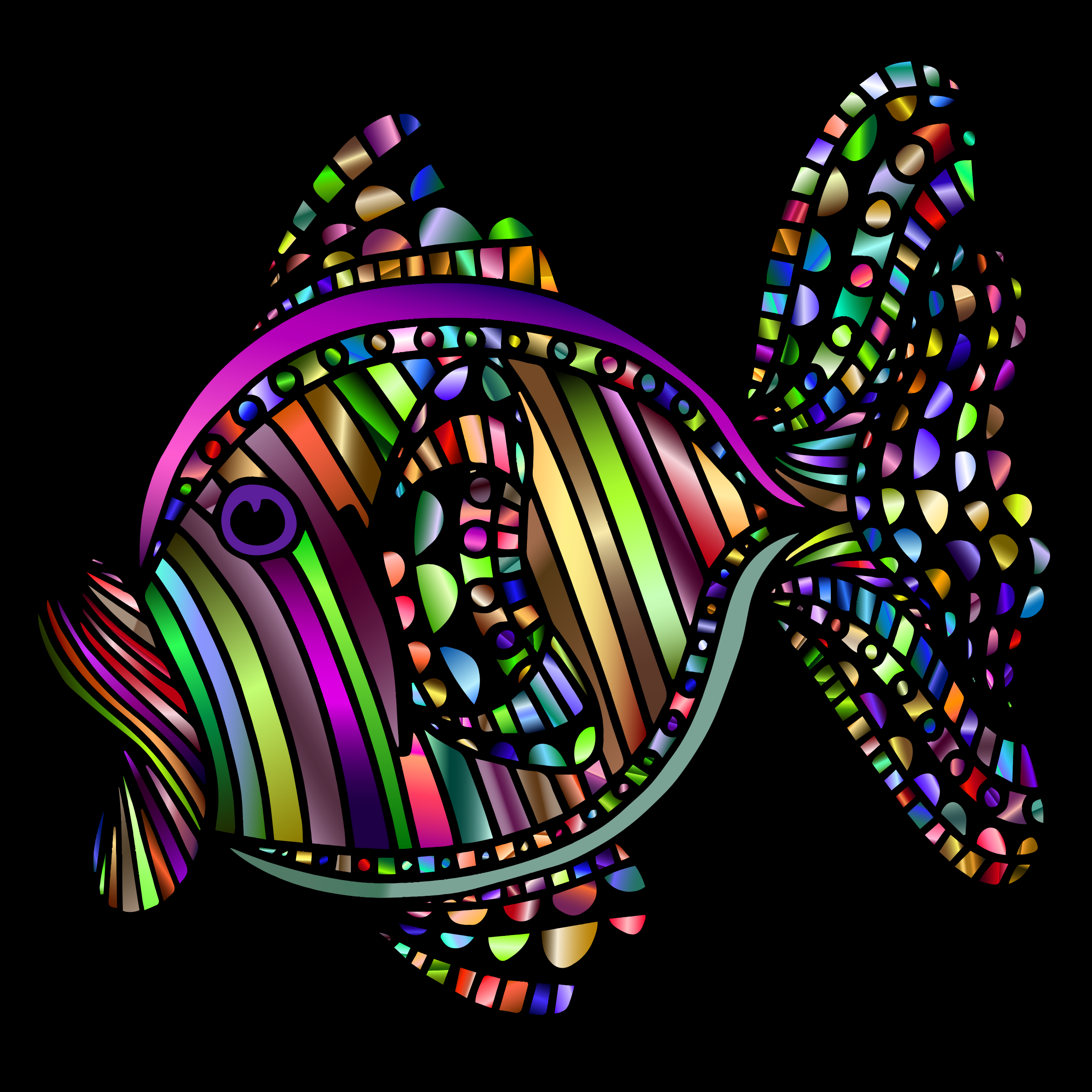 Abstract Colorful Fish 3 With Background by GDJ