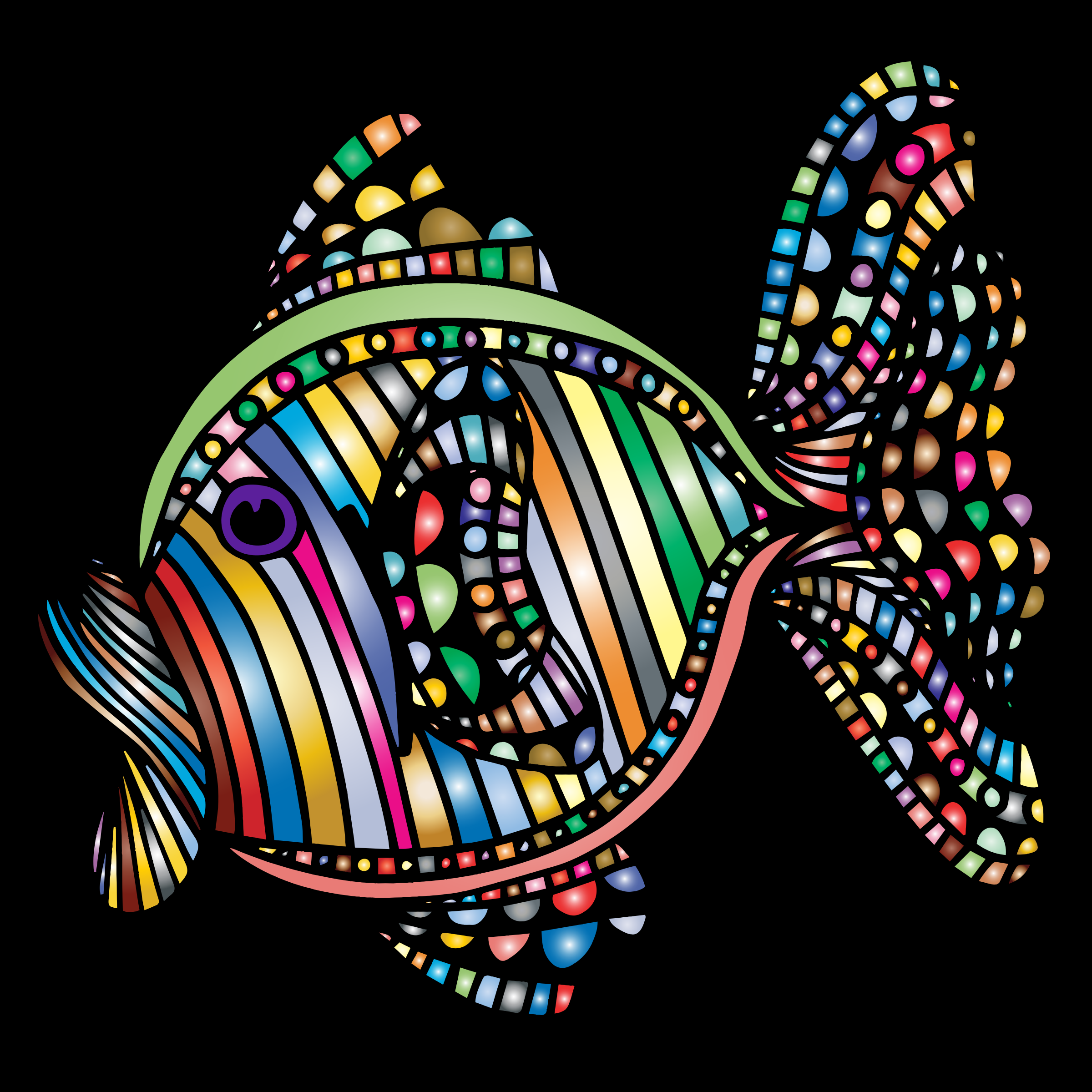 Abstract Colorful Fish 4 With Background by GDJ