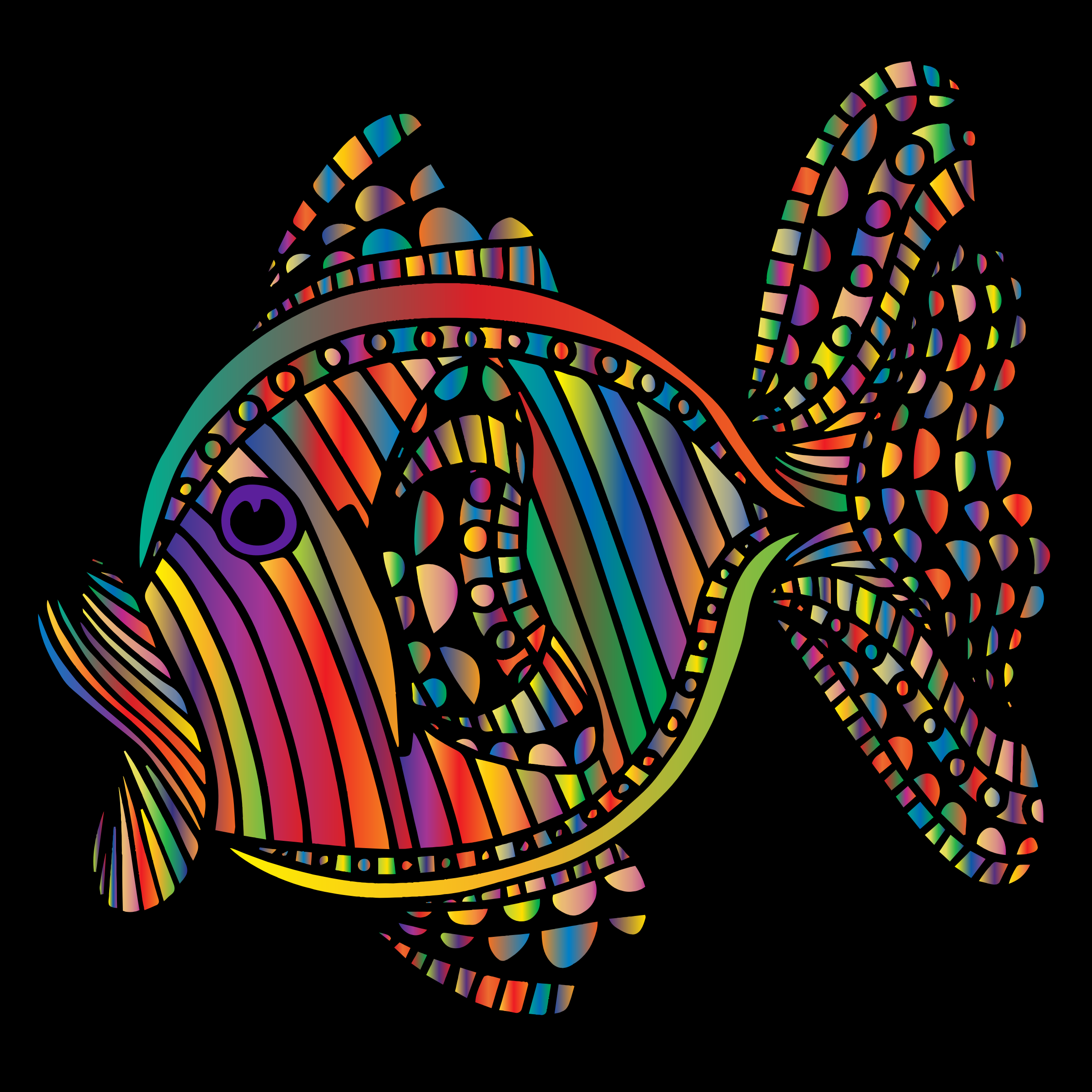 Abstract Colorful Fish 6 With Background by GDJ