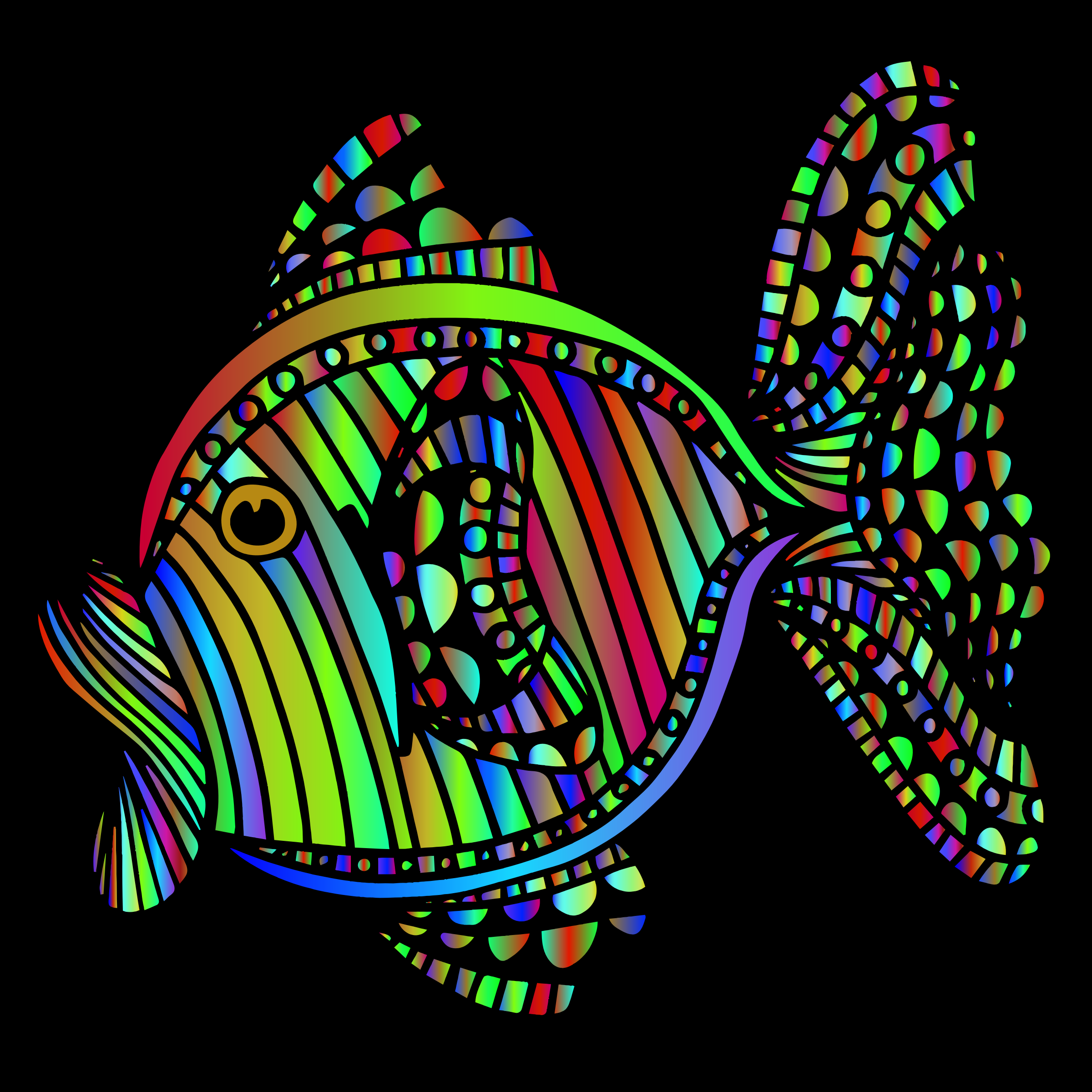 Abstract Colorful Fish 7 With Background by GDJ