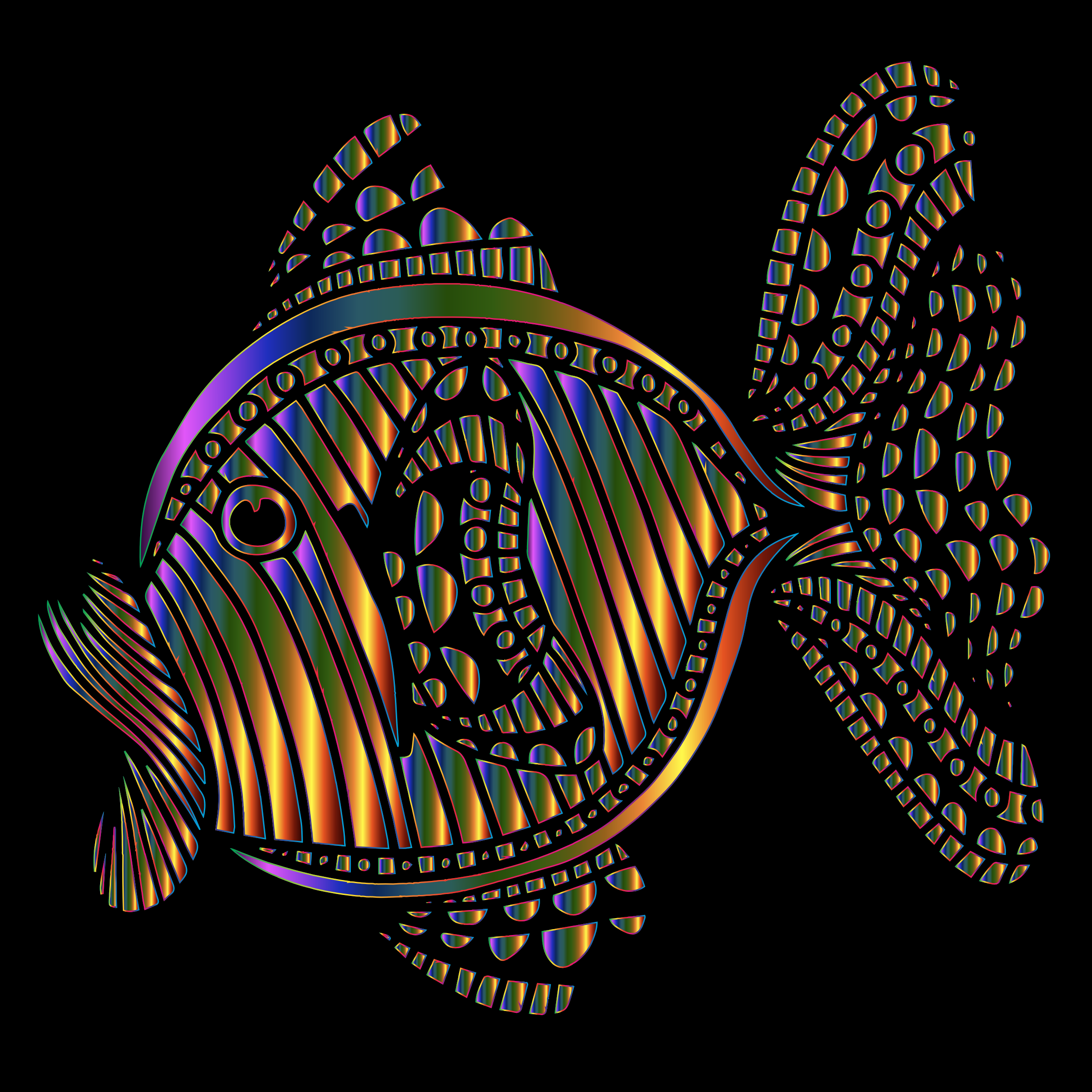 Abstract Colorful Fish 9 With Background by GDJ