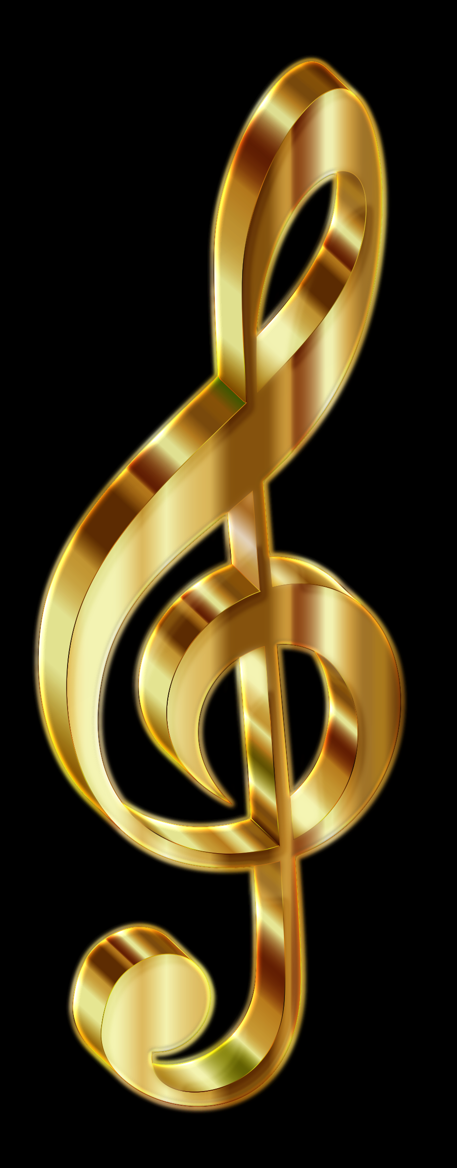 Gold 3D Clef 2 Enhanced by GDJ