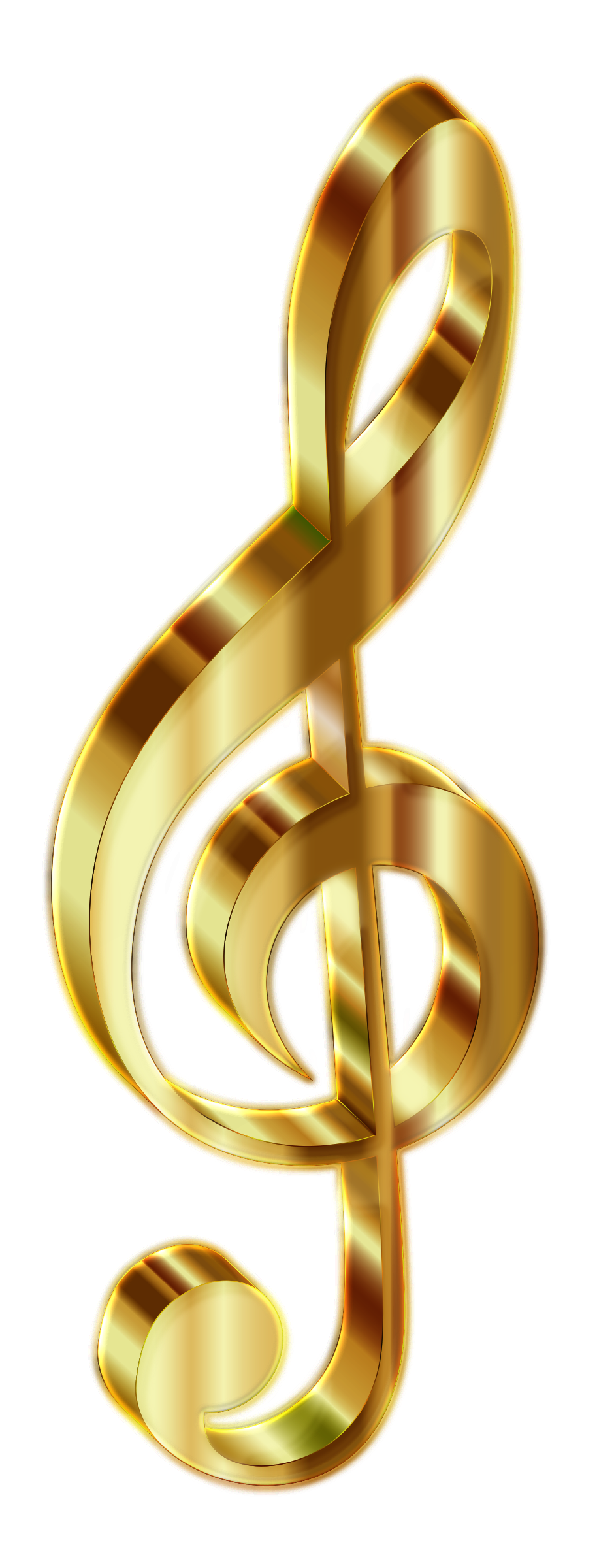 Gold 3D Clef 2 Enhanced No Background by GDJ