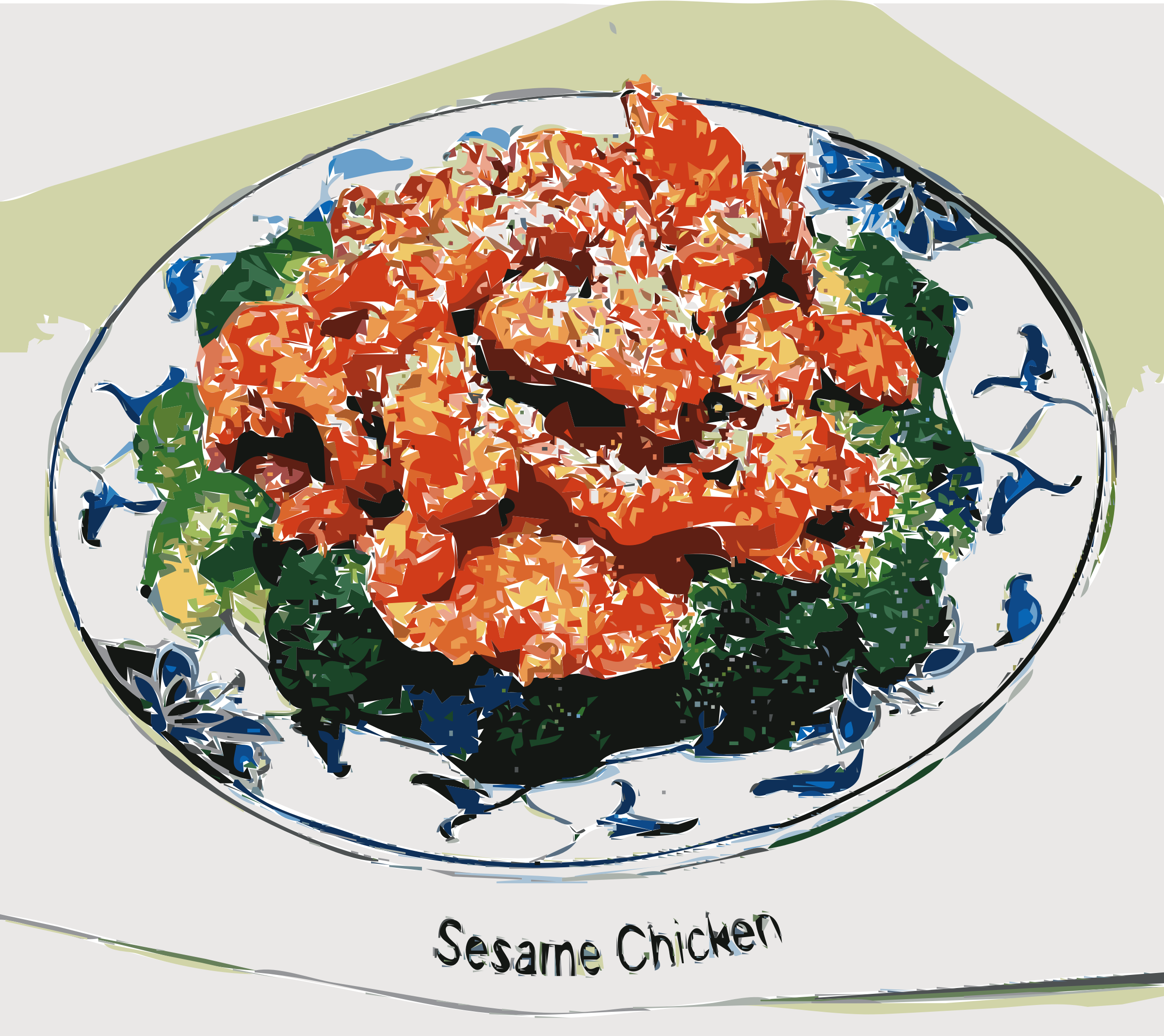 Clipart sesame chicken for American chinese cuisine