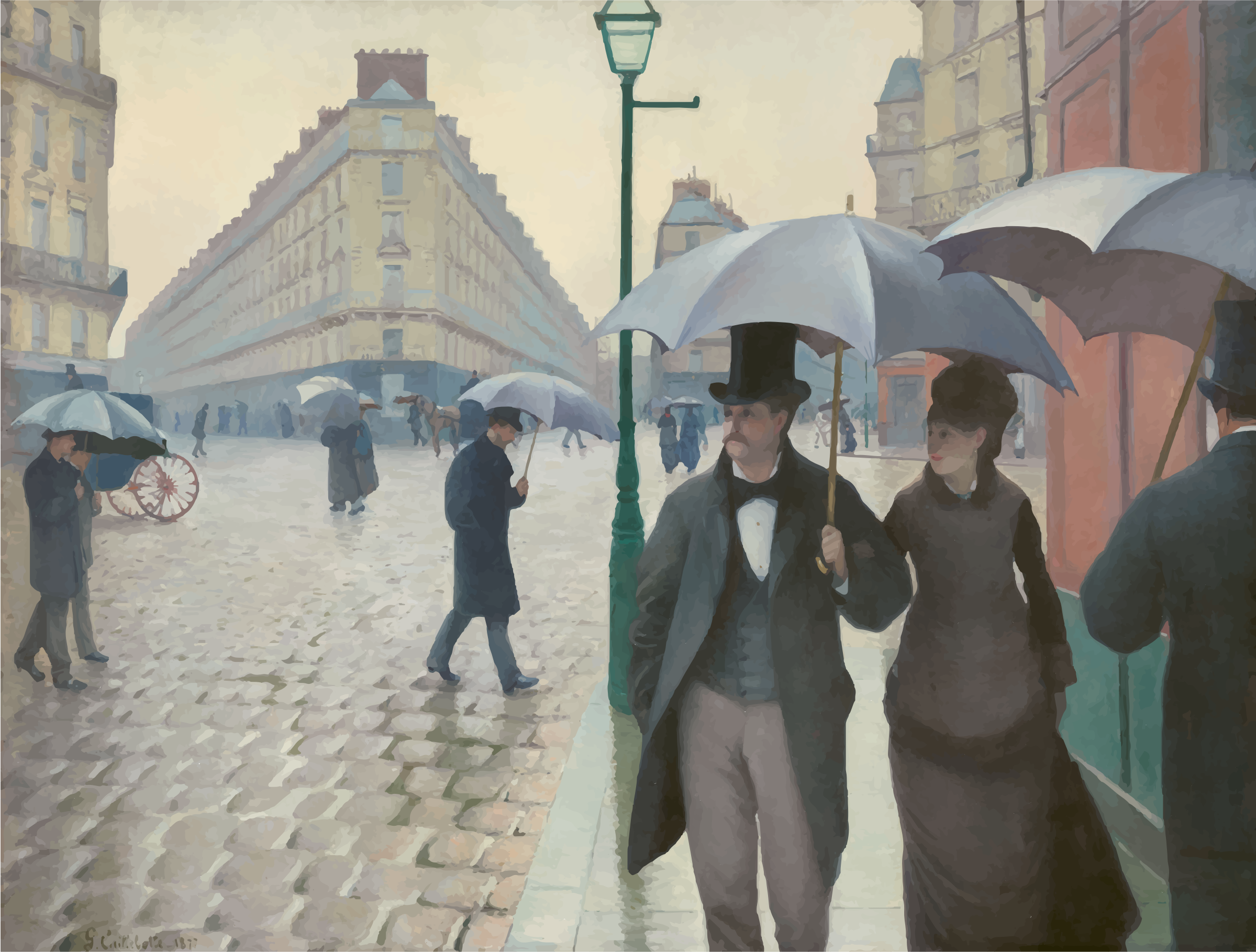 Paris Street in Rainy Weather Gustave Caillebotte by GDJ