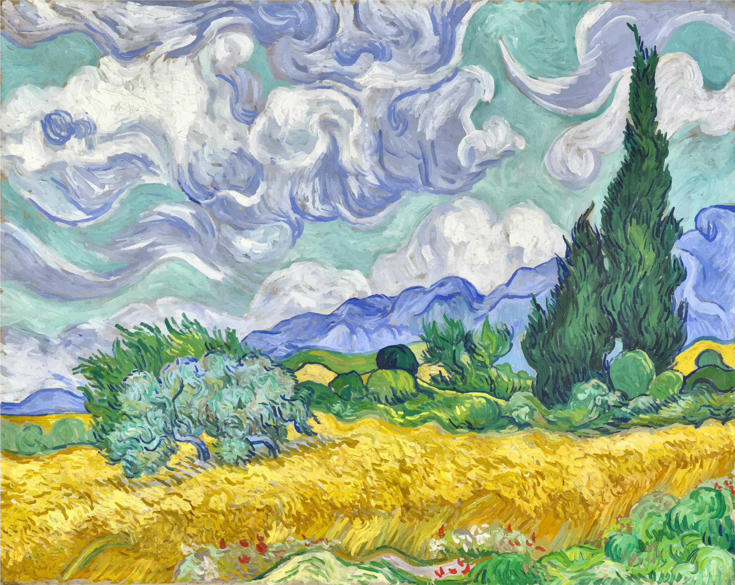 Wheat Field with Cypresses Vincent Van Gogh Contrast Enhanced by GDJ
