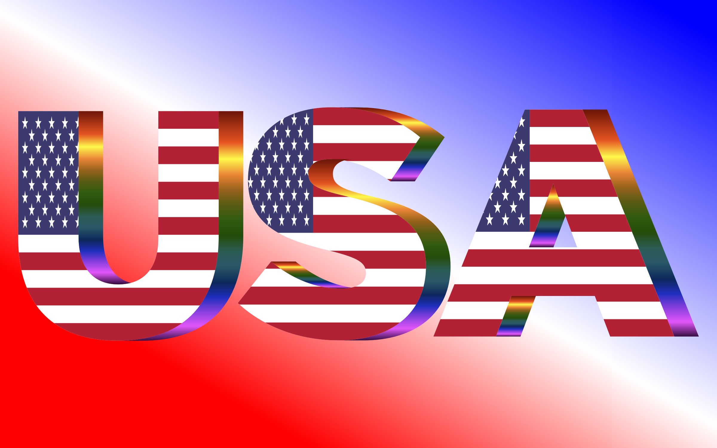 USA Flag Typography Prismatic by GDJ