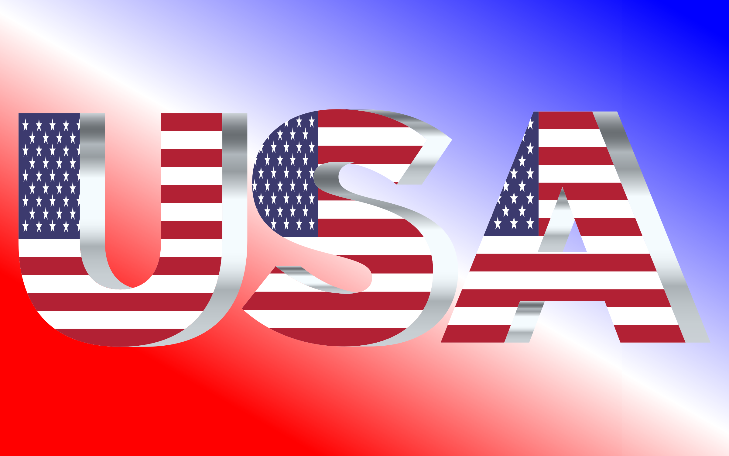 USA Flag Typography Silver by GDJ