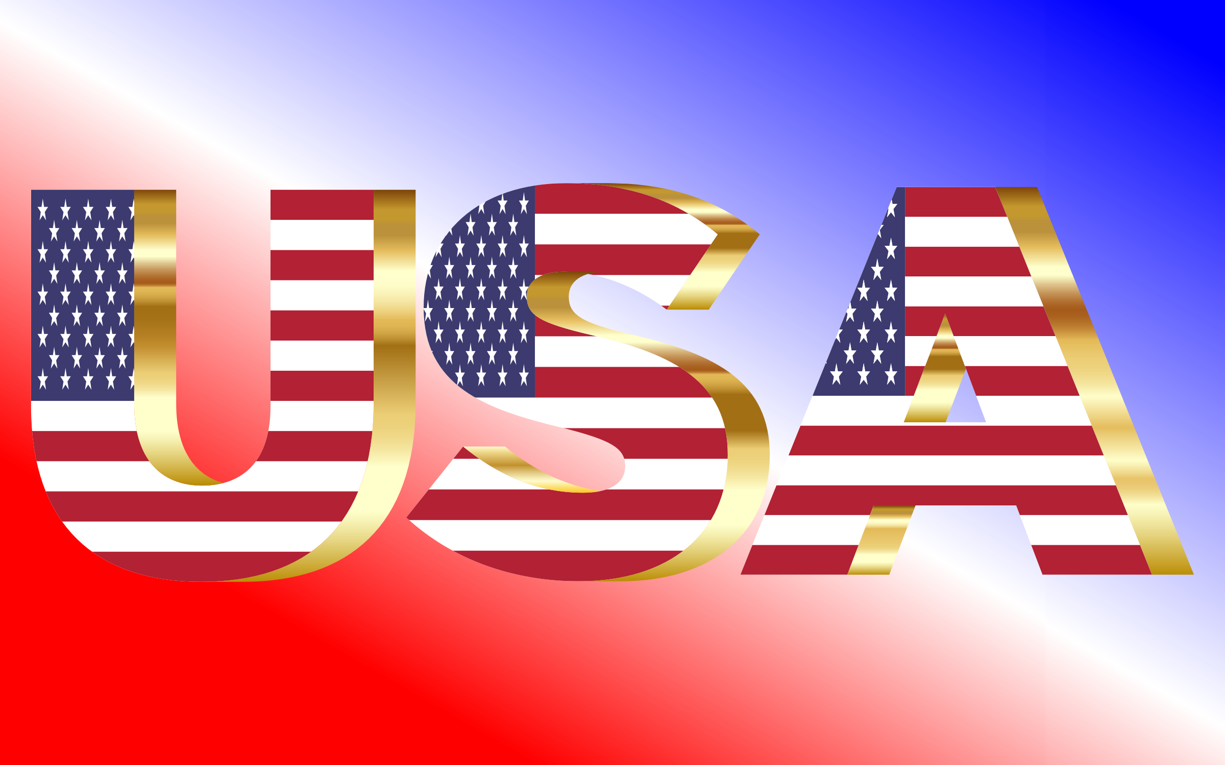 USA Flag Typography Gold by GDJ
