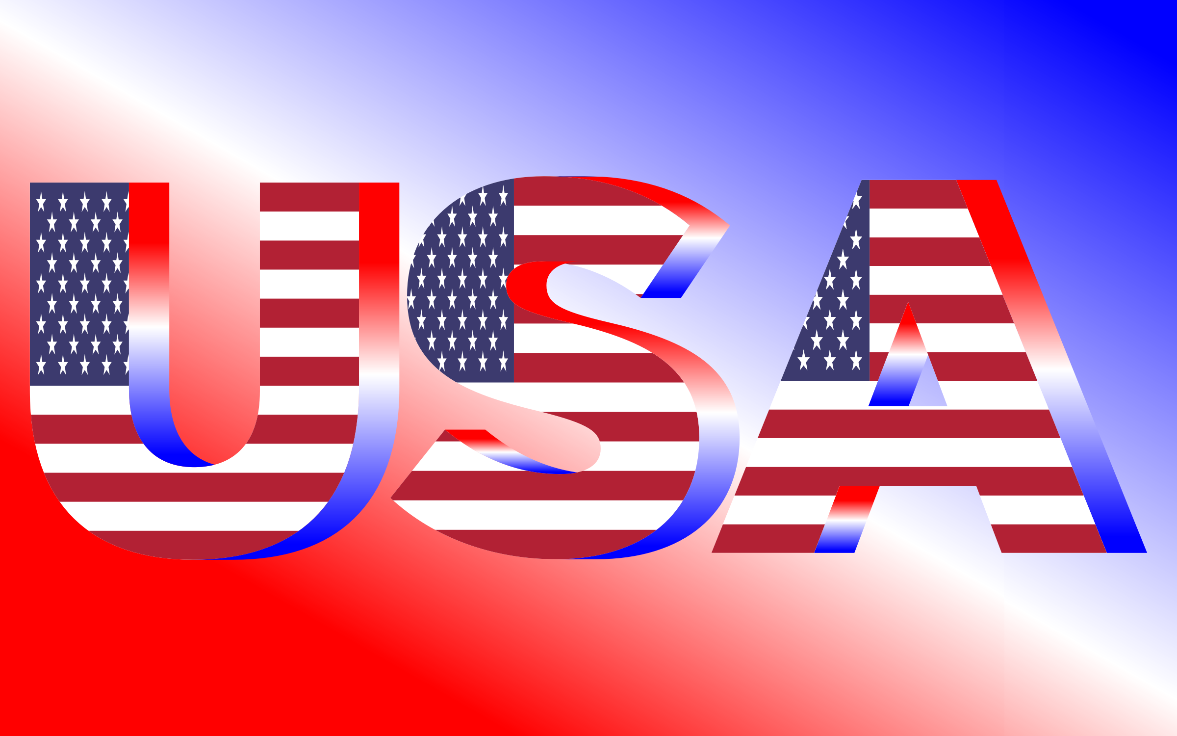 USA Flag Typography Red White And Blue by GDJ