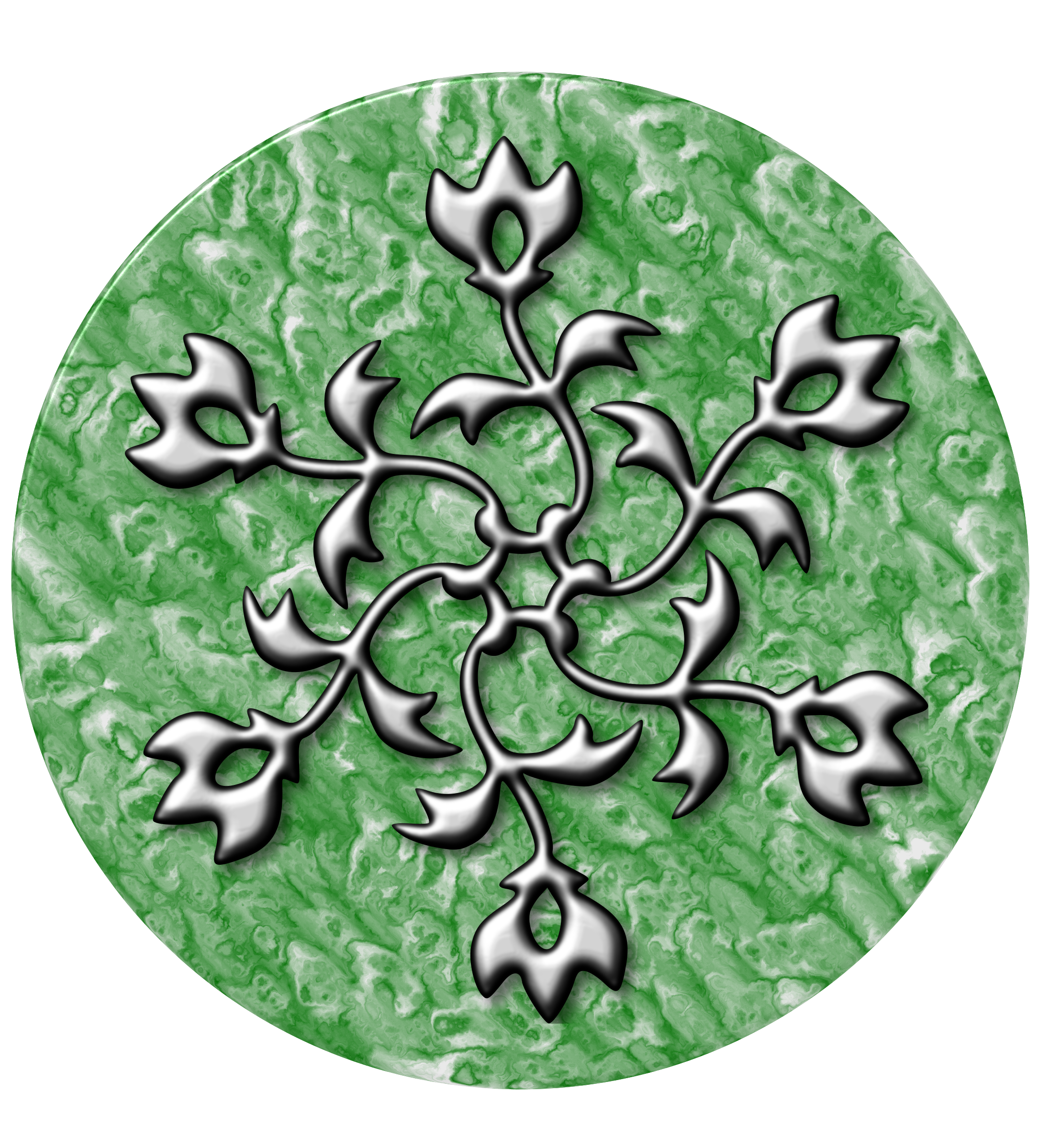 Silver design on jade by Firkin