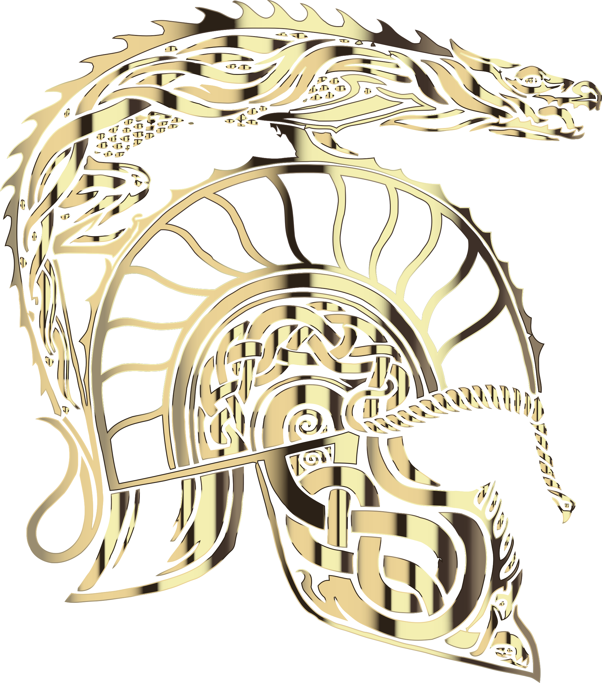 Children Of Hurin Dragon Helm Brass No Background by GDJ