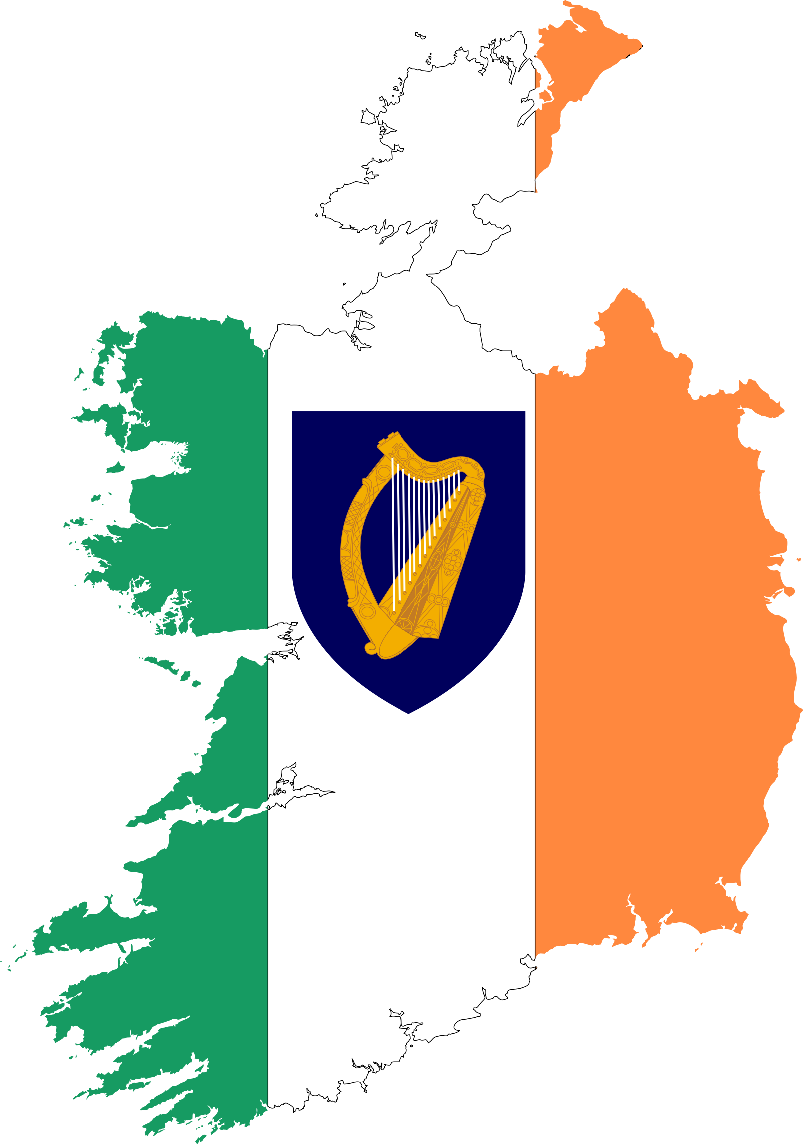 Republic Of Ireland Map Flag With Coat Of Arms by GDJ
