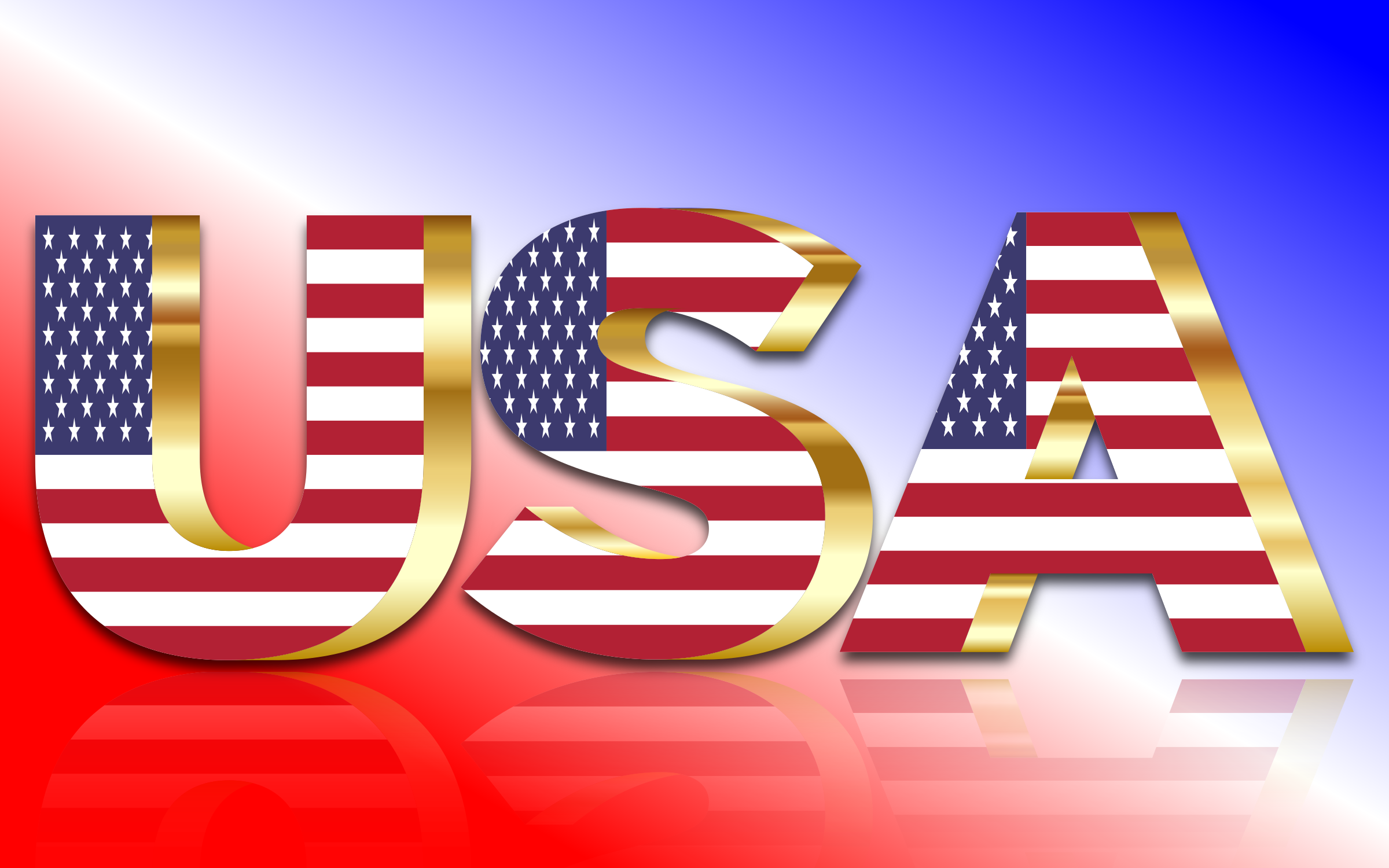 USA Flag Typography Gold With Reflection by GDJ