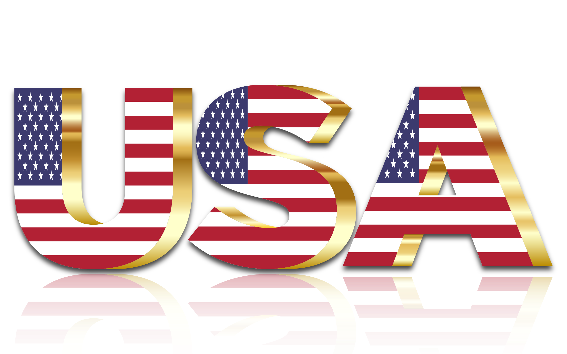USA Flag Typography Gold With Reflection No Background by GDJ