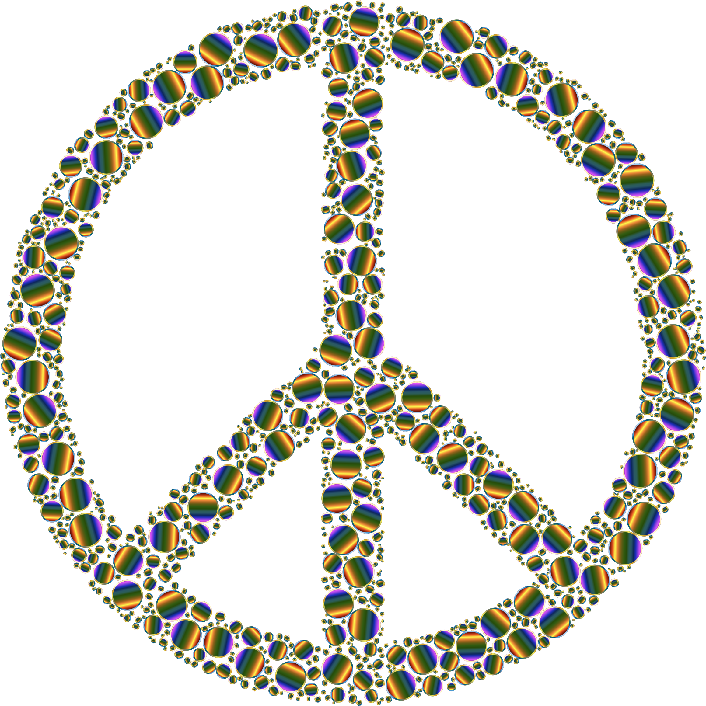 Colorful Circles Peace Sign 17 Without Background by GDJ