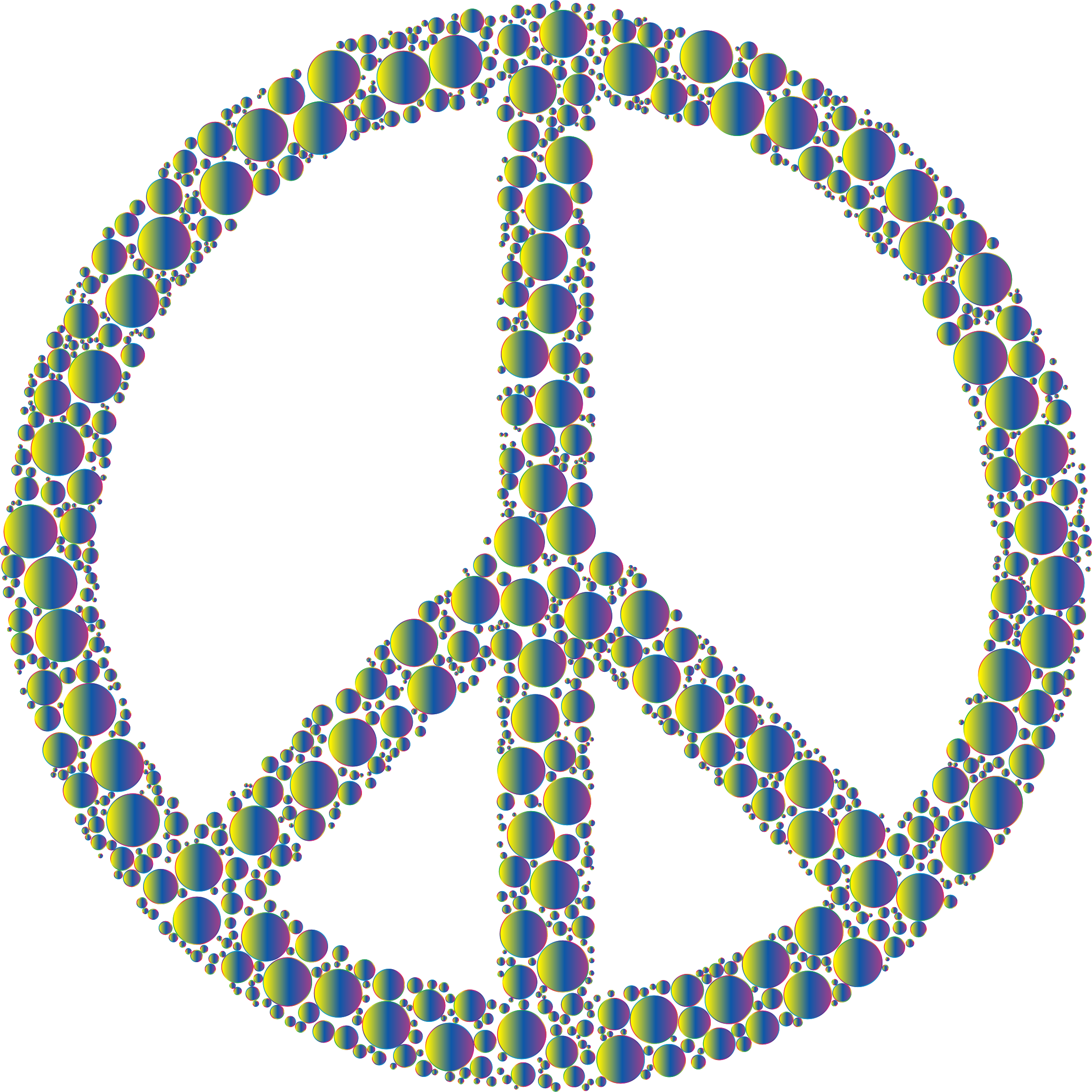 Colorful Circles Peace Sign 23 Without Background by GDJ