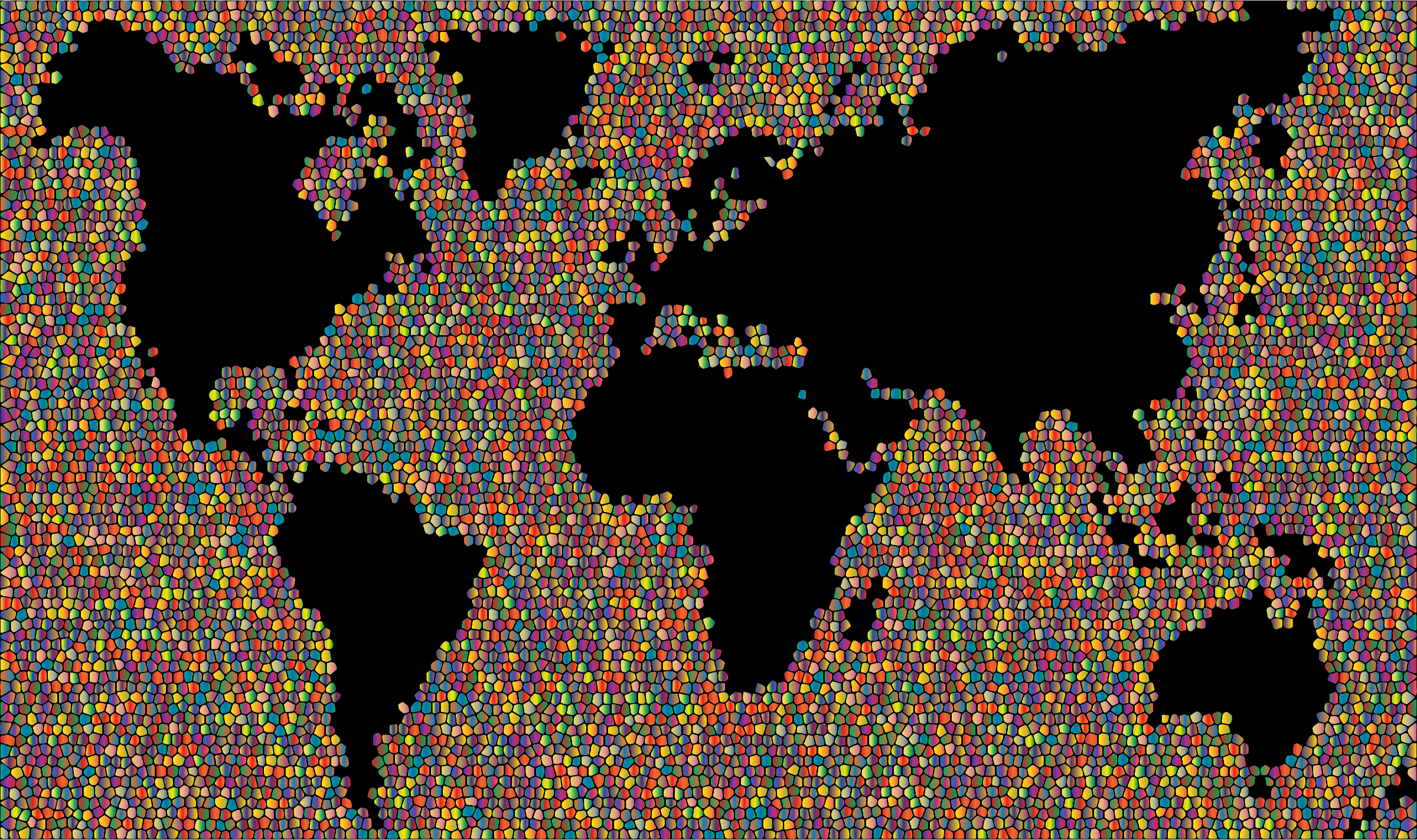 Clipart Colorful World Map Mosaic - Colorful world map