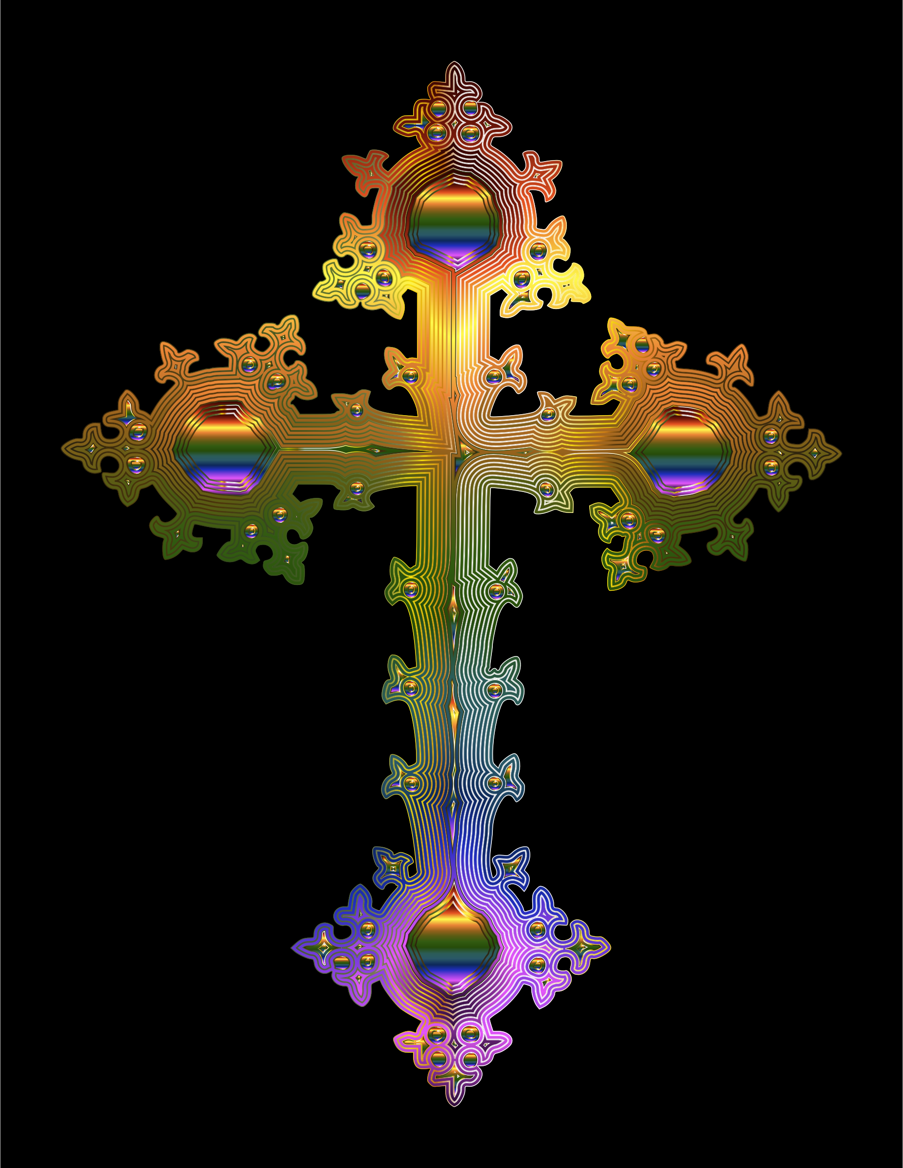 Prismatic Ornate Cross 2 by GDJ