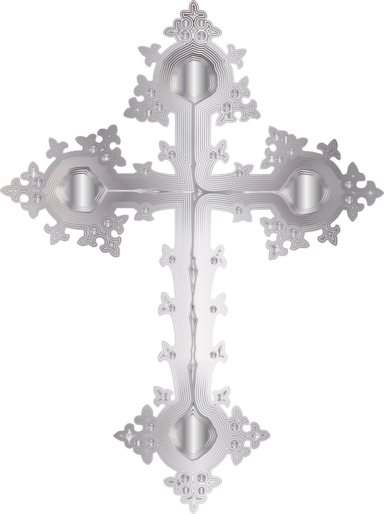 Platinum Ornate Cross No Background by GDJ