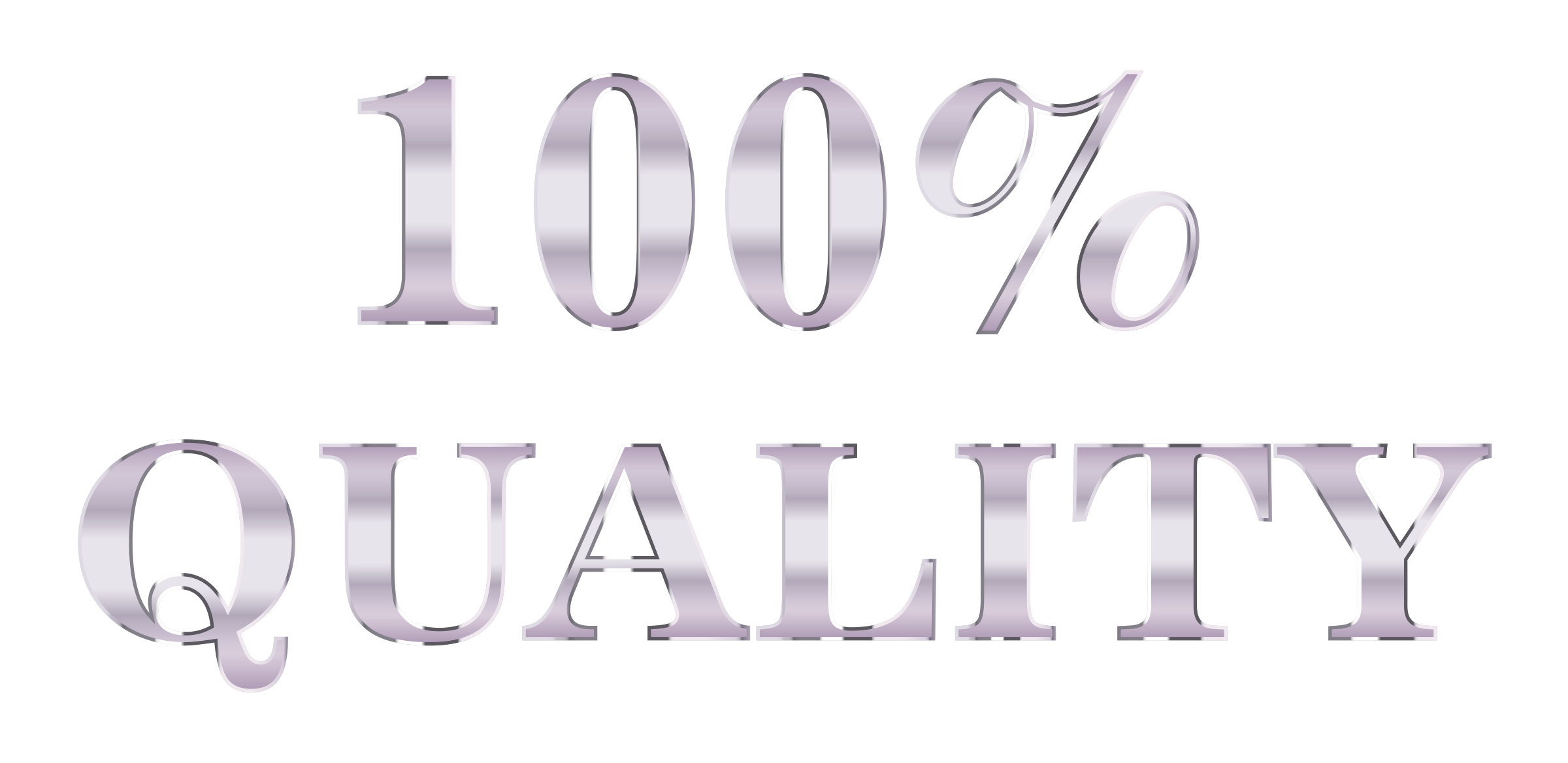 100 Percent Quality Typography Silver No Background by GDJ
