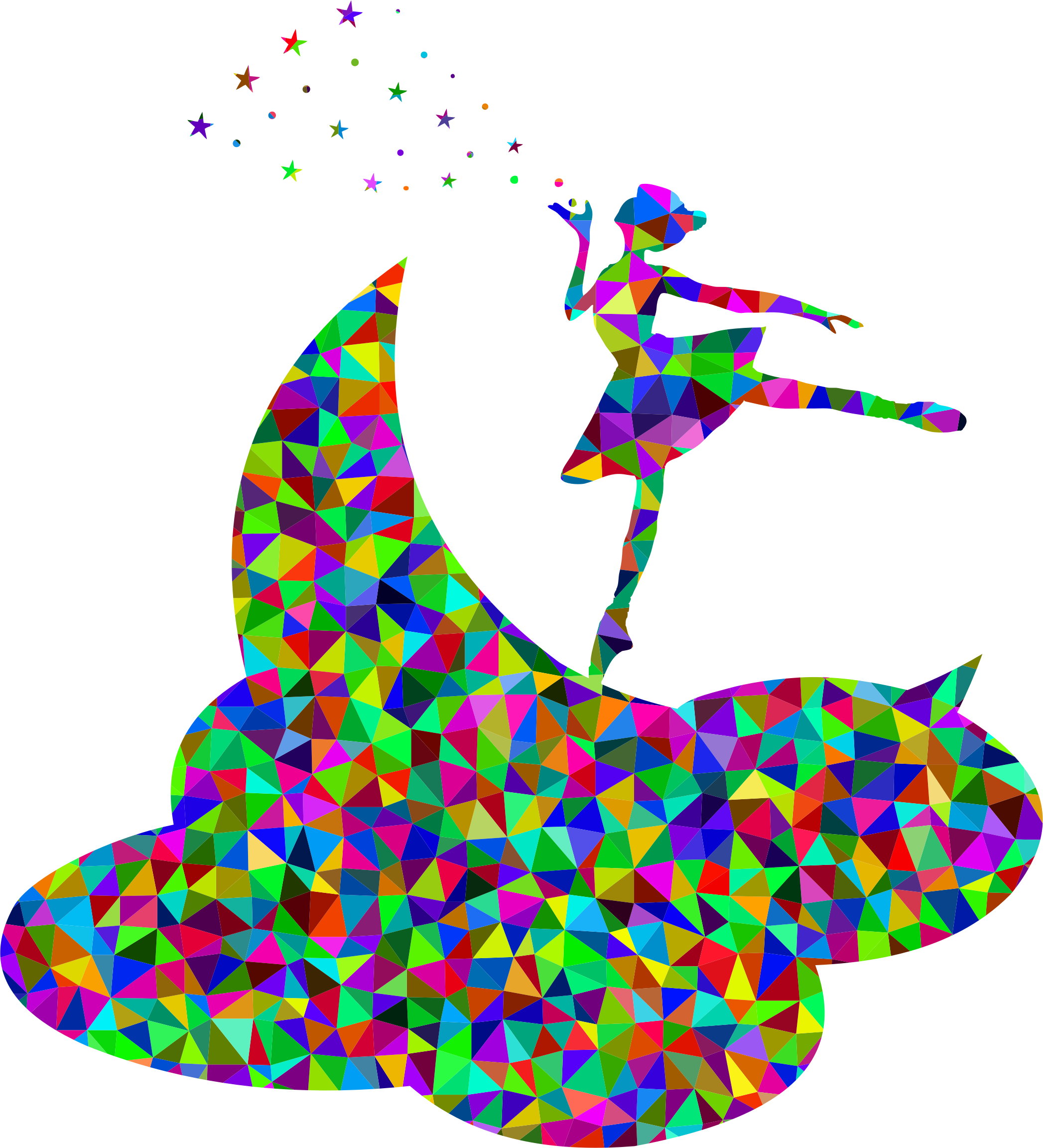 Prismatic Low Poly Ballerina On The Moon by GDJ