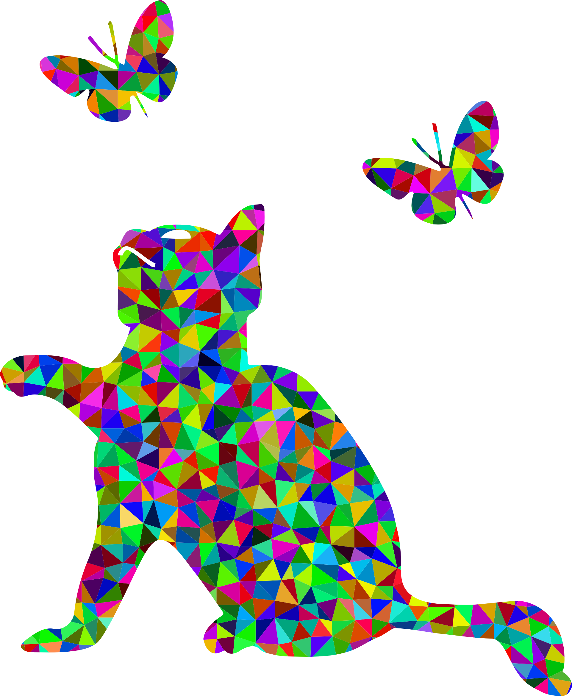 Prismatic Low Poly Kitten Playing With Butterflies by GDJ