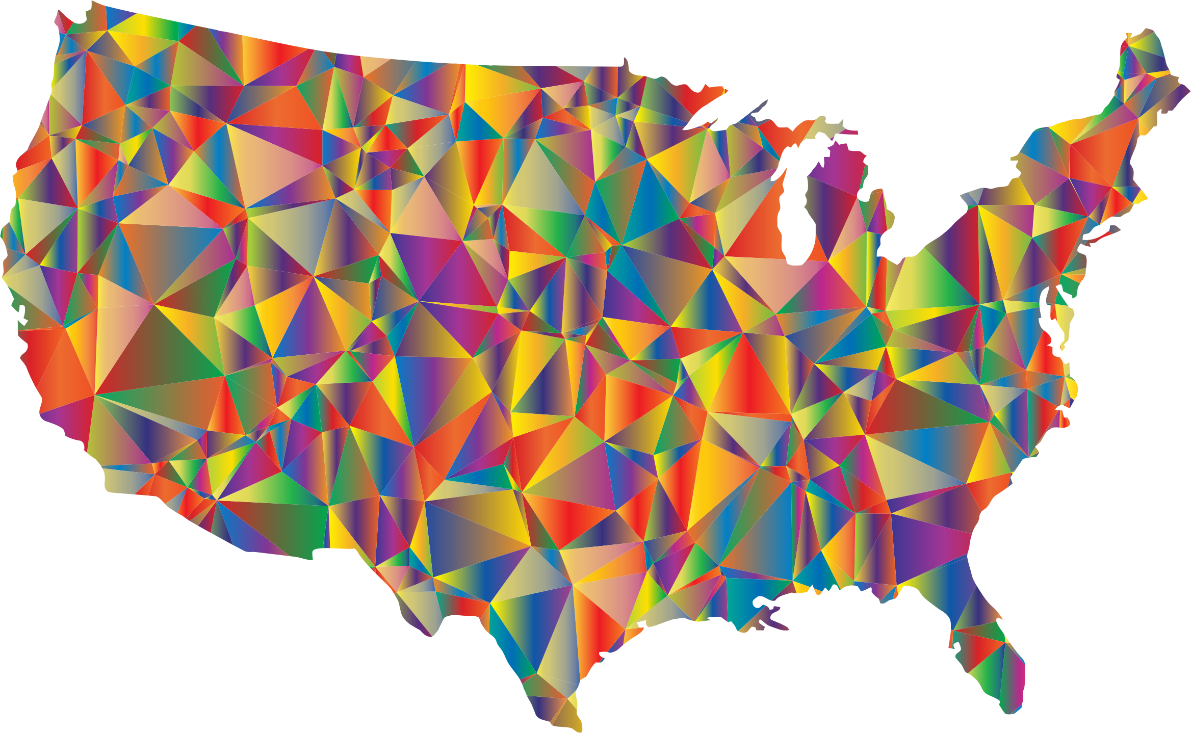 Clipart Low Poly United States Map - States map of the united states