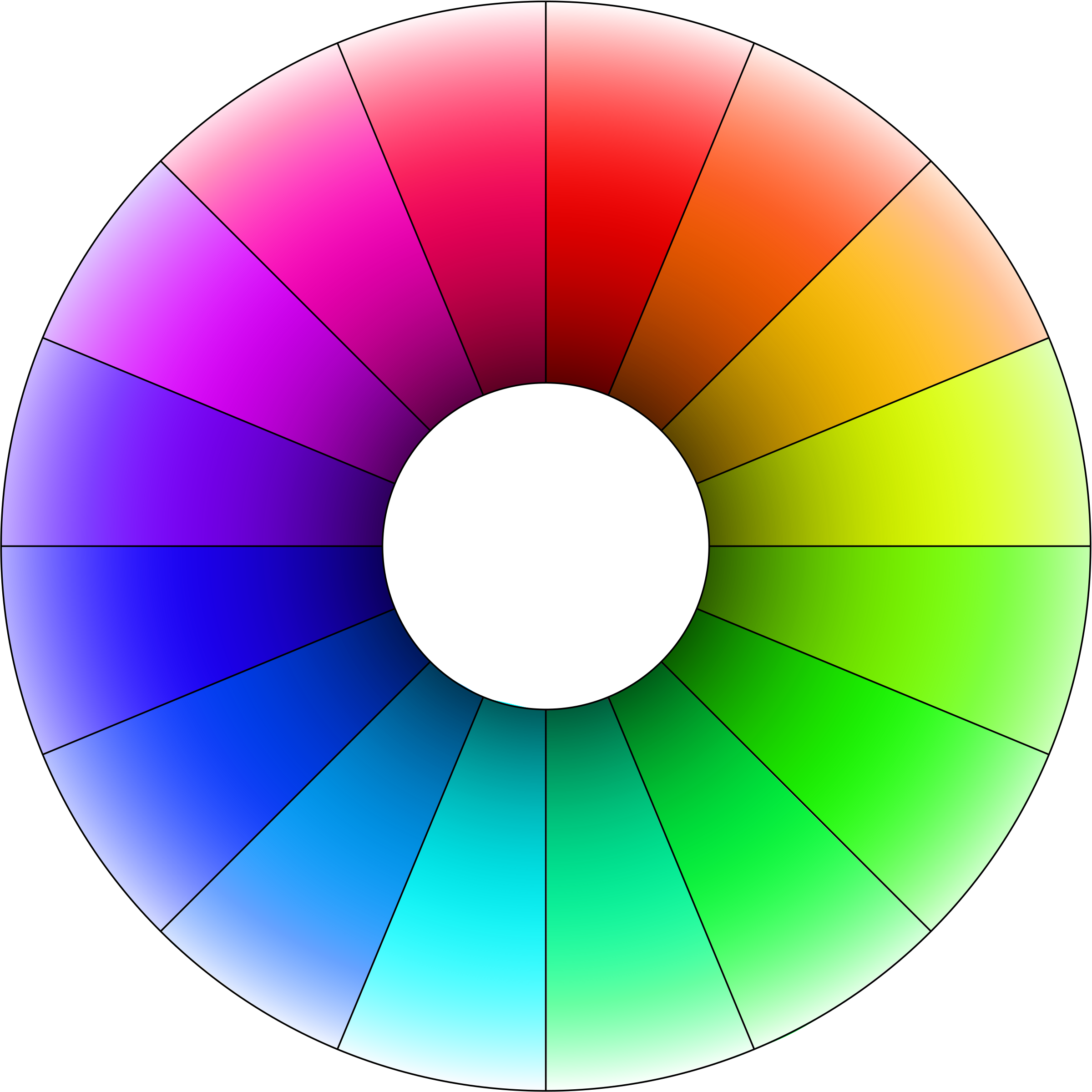 Hue color wheel with lightness gradient by krzysiu