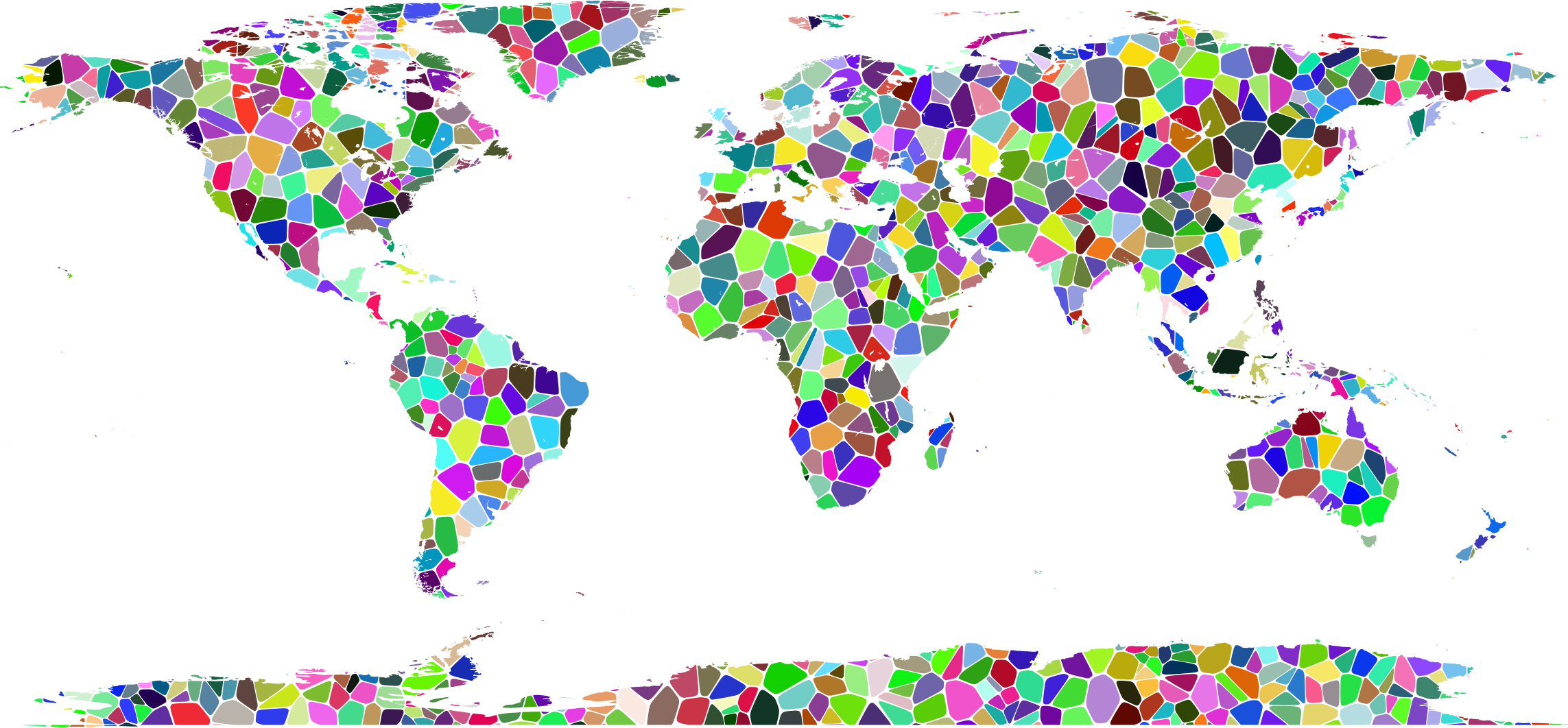Clipart - Prismatic Tiled World Map