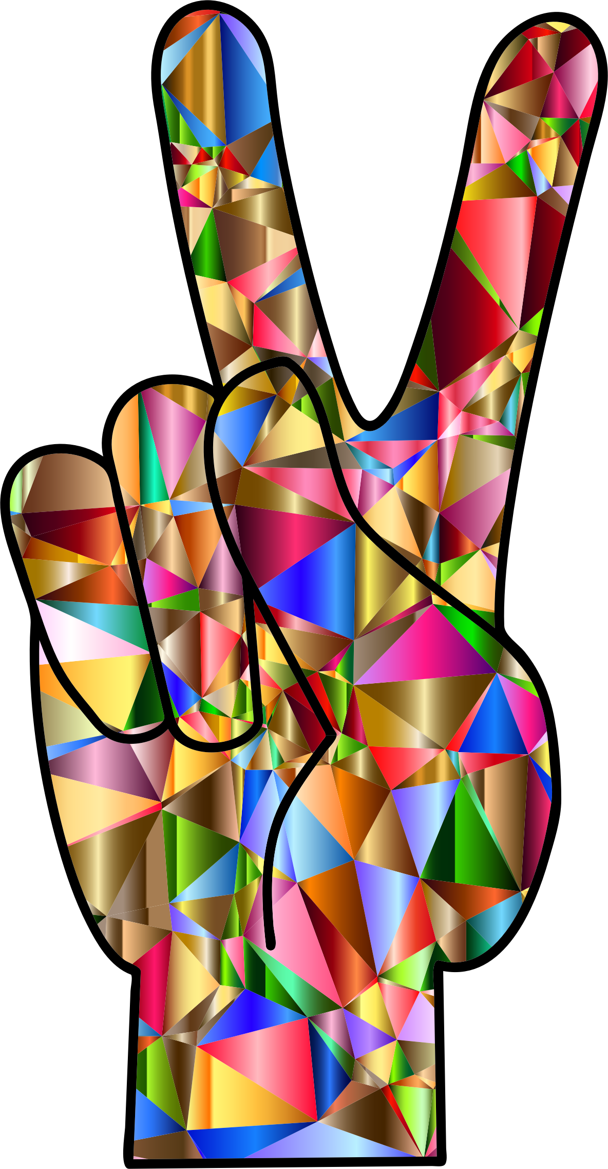 Chromatic Low Poly Peace Hand Sign by GDJ