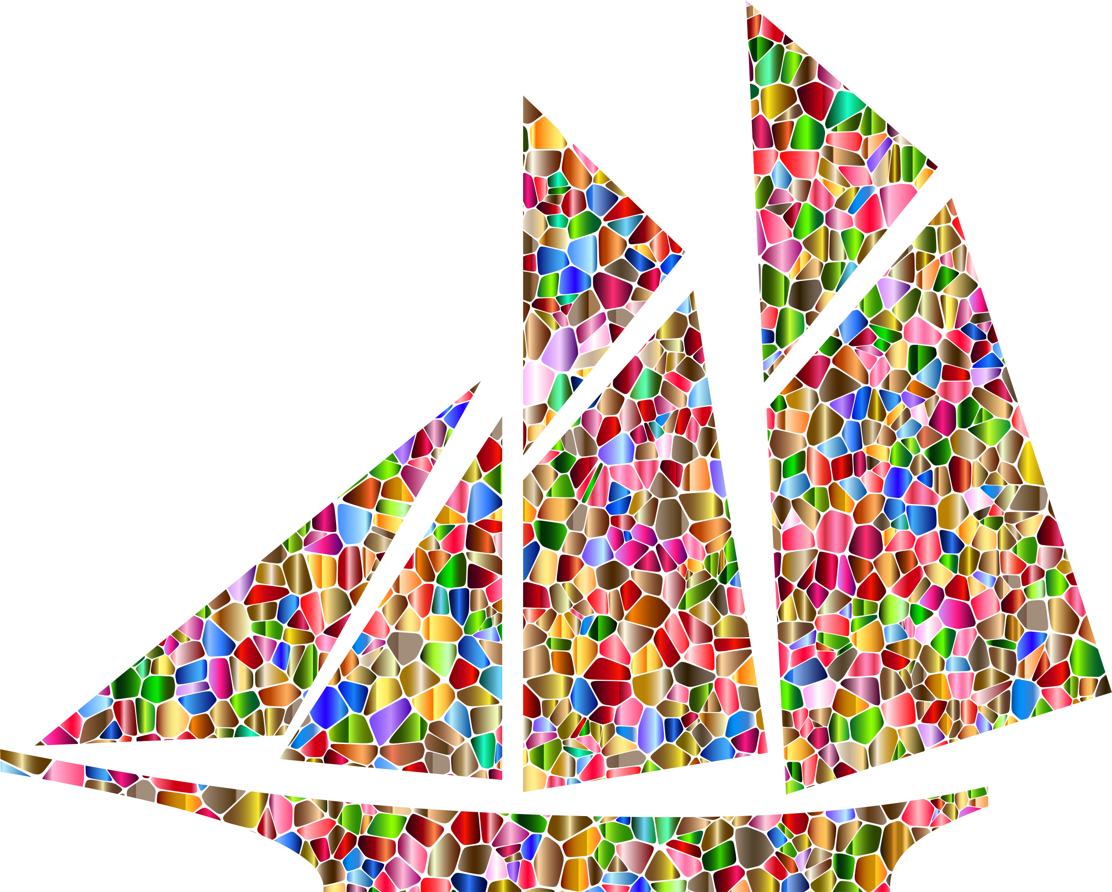 Polychromatic Tiled Sailboat by GDJ
