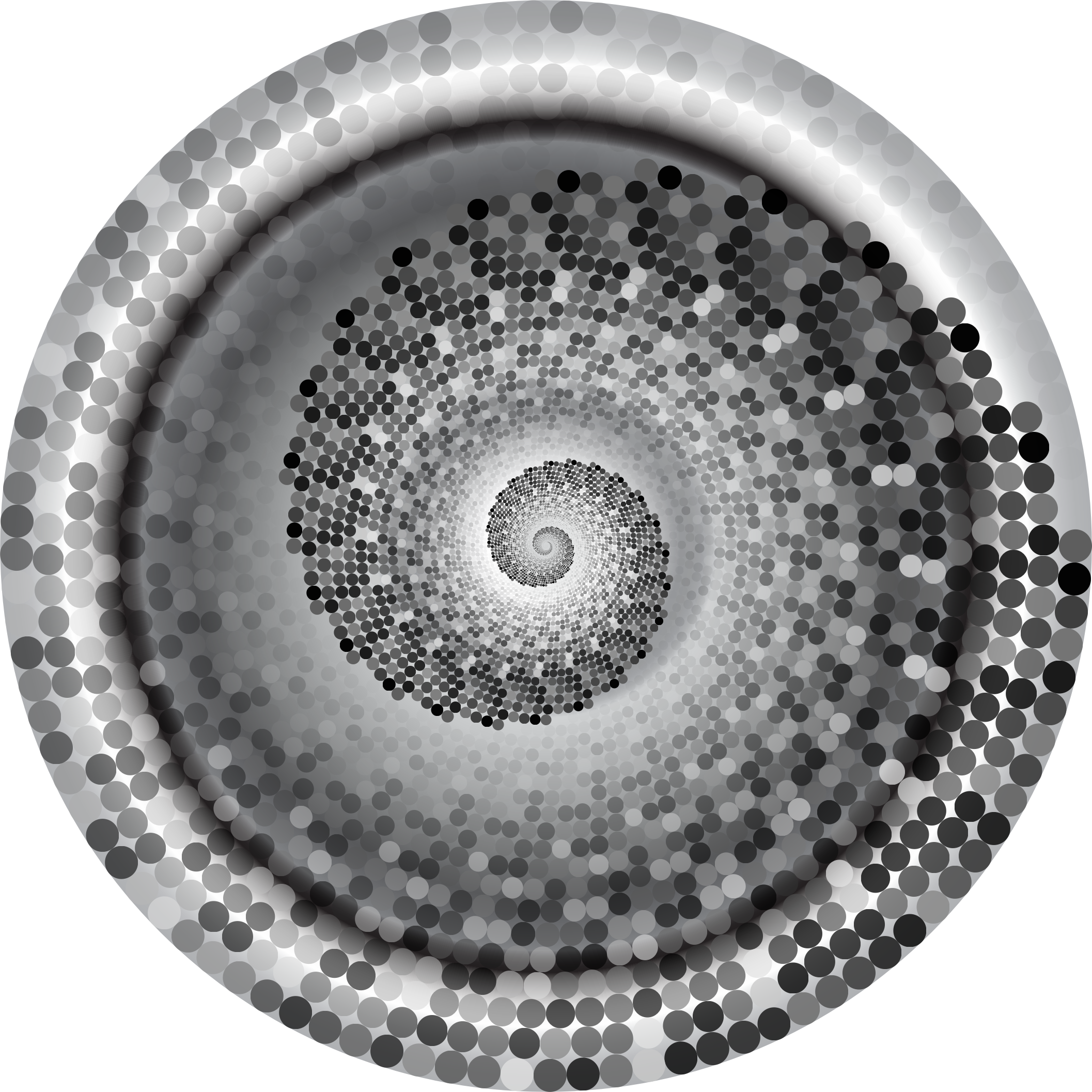 Grayscale Swirling Circles Vortex Variation 4 by GDJ