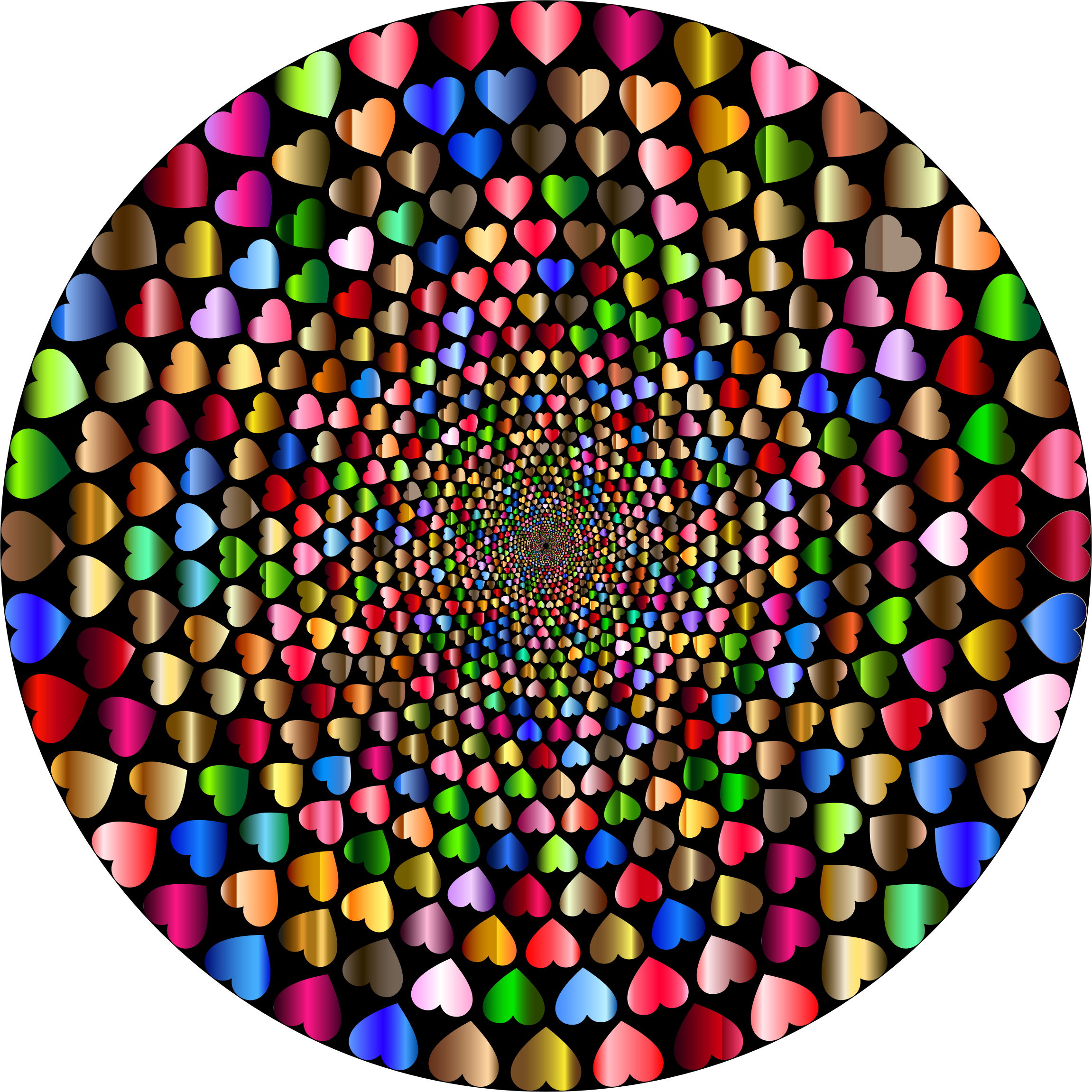 Colorful Hearts Vortex 12 Variation 2 With Background by GDJ