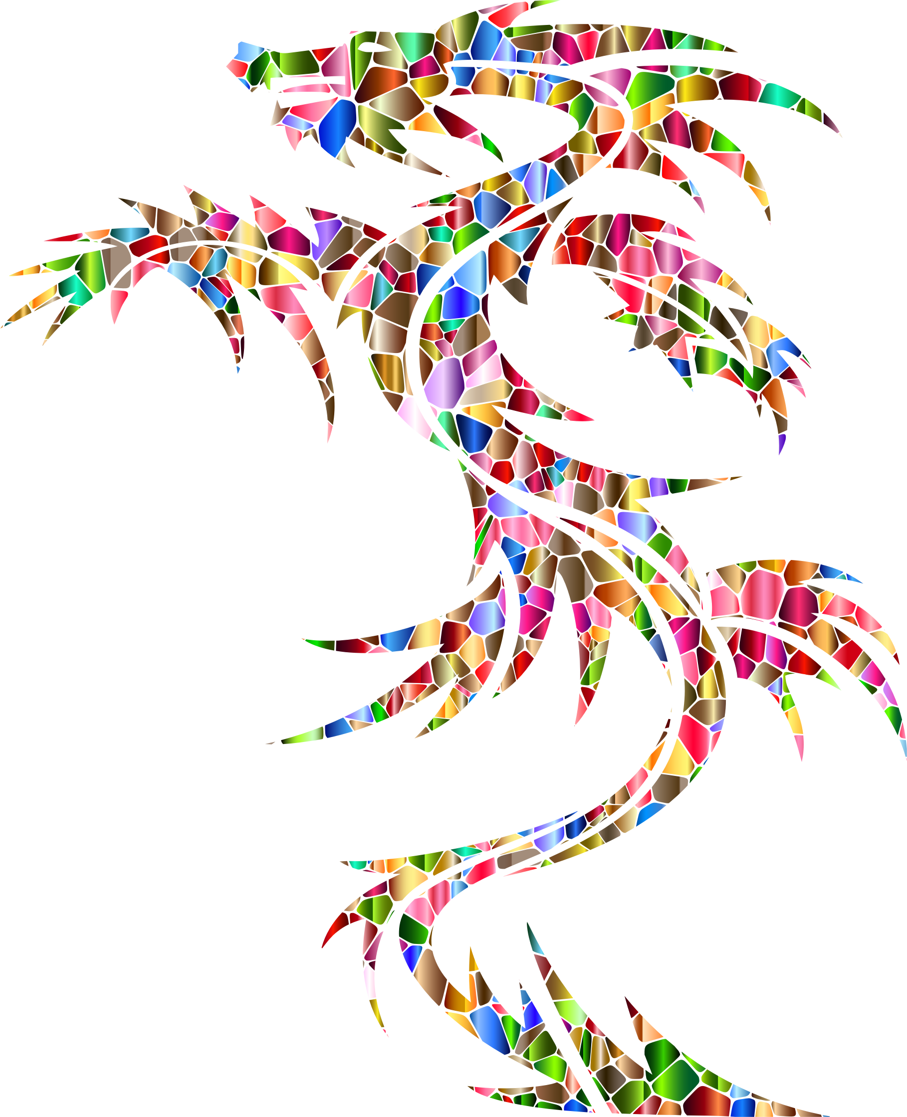 Polychromatic Tiled Tribal Dragon by GDJ