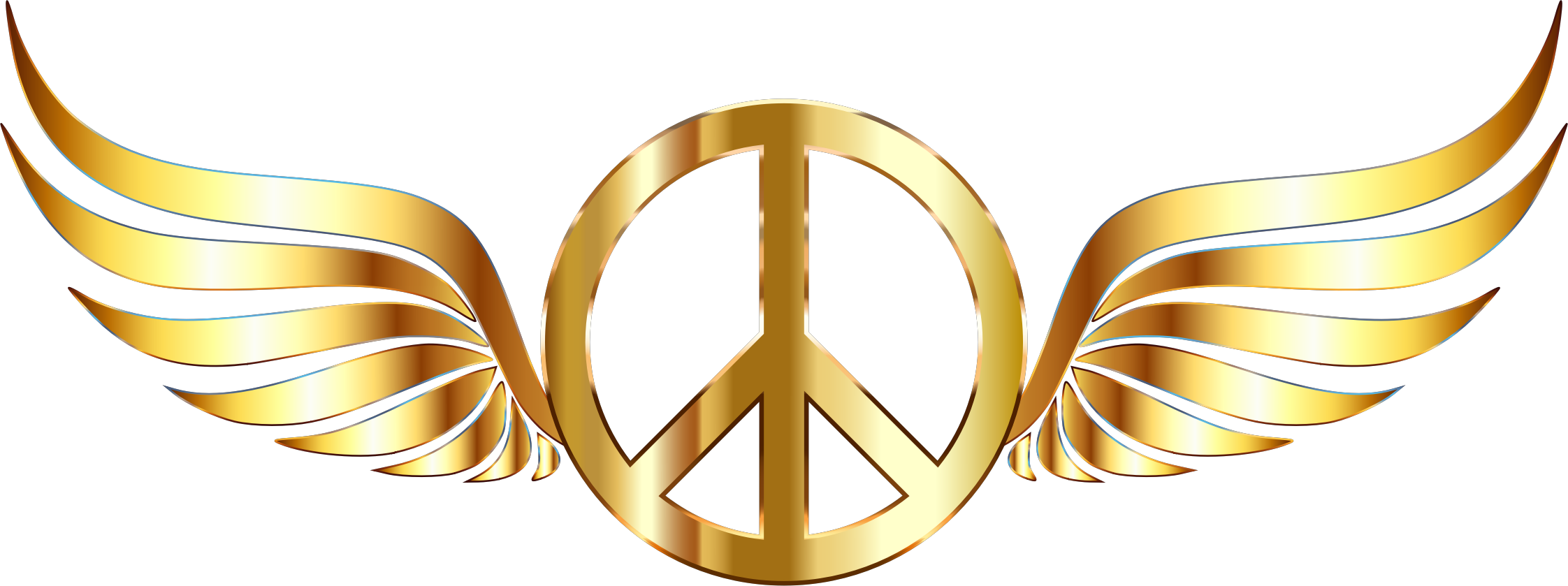 Gold Peace Sign Wings No Background by GDJ