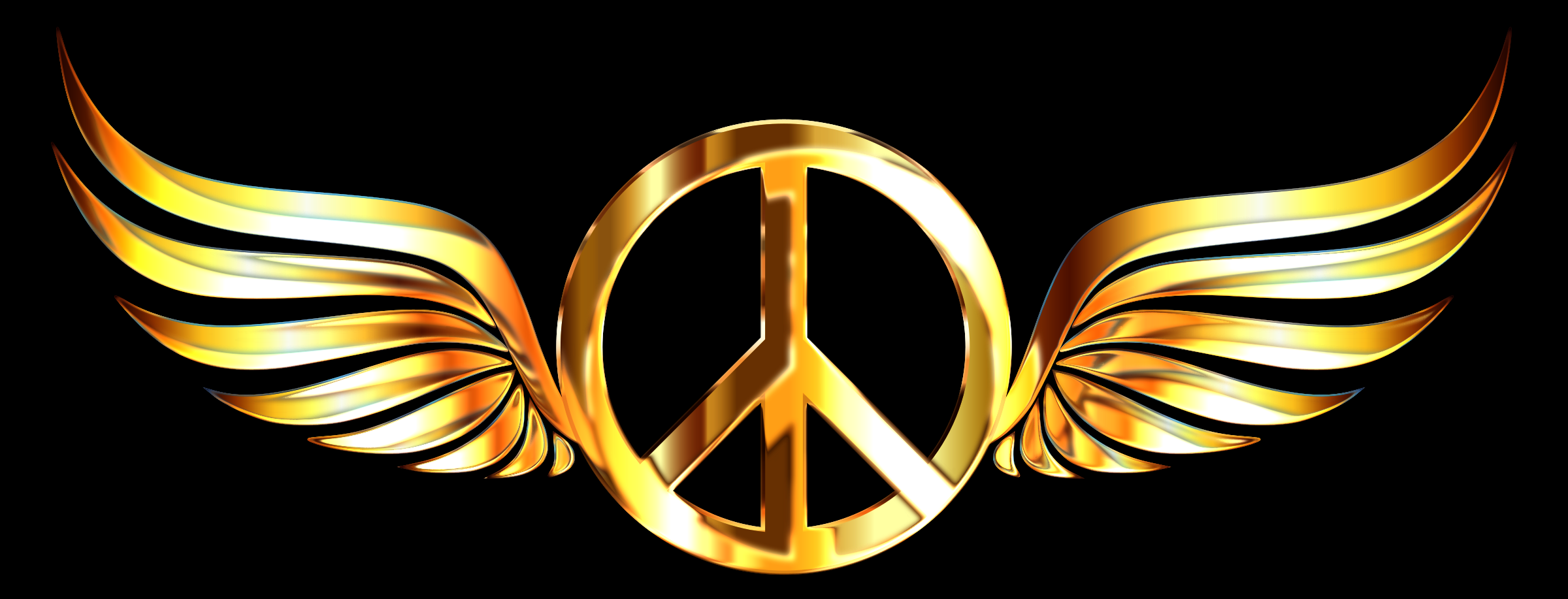 Gold Peace Sign Wings Enhanced by GDJ