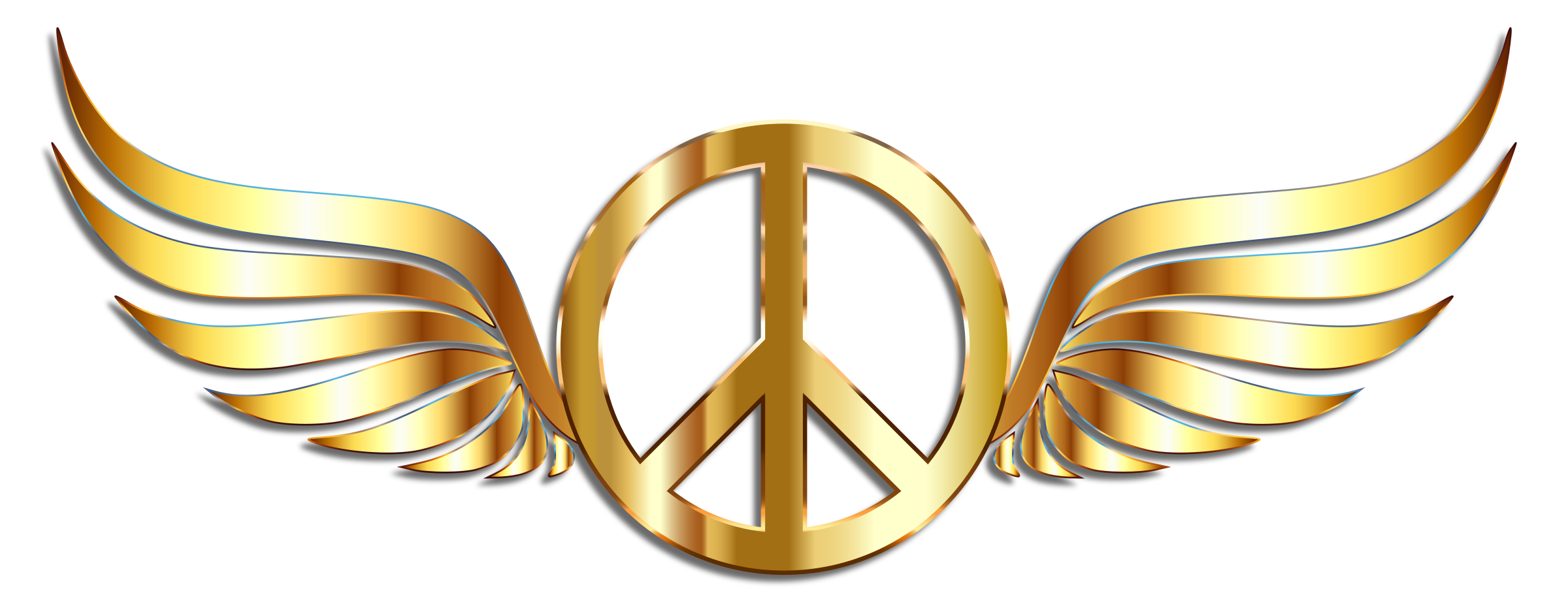 Gold Peace Sign Wings With Drop Shadow by GDJ