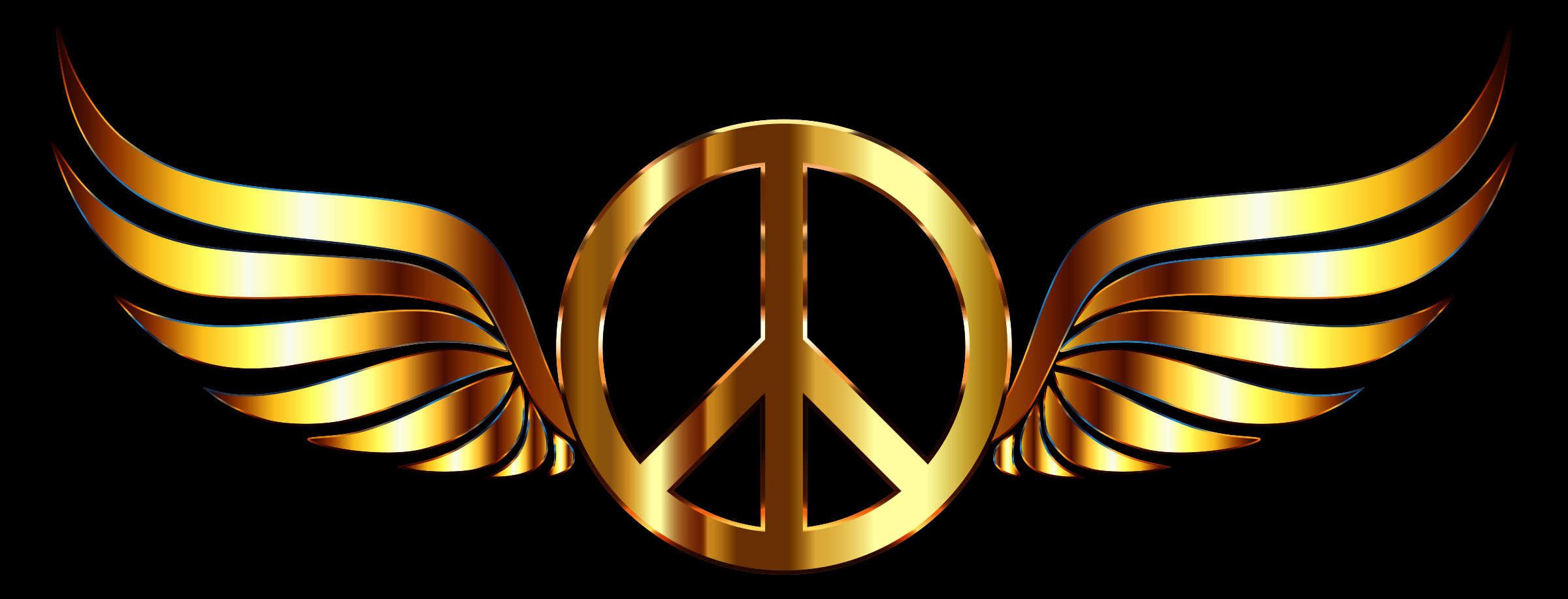 Gold Peace Sign Wings Enhanced Contrast by GDJ