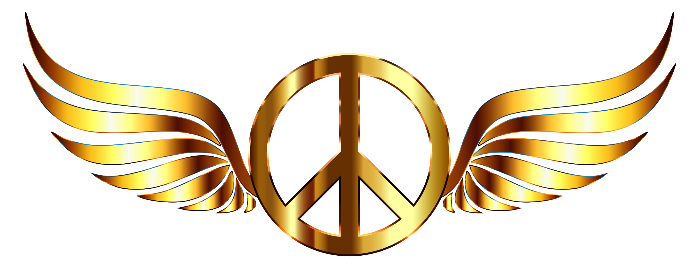 Gold Peace Sign Wings Enhanced Contrast No Background by GDJ