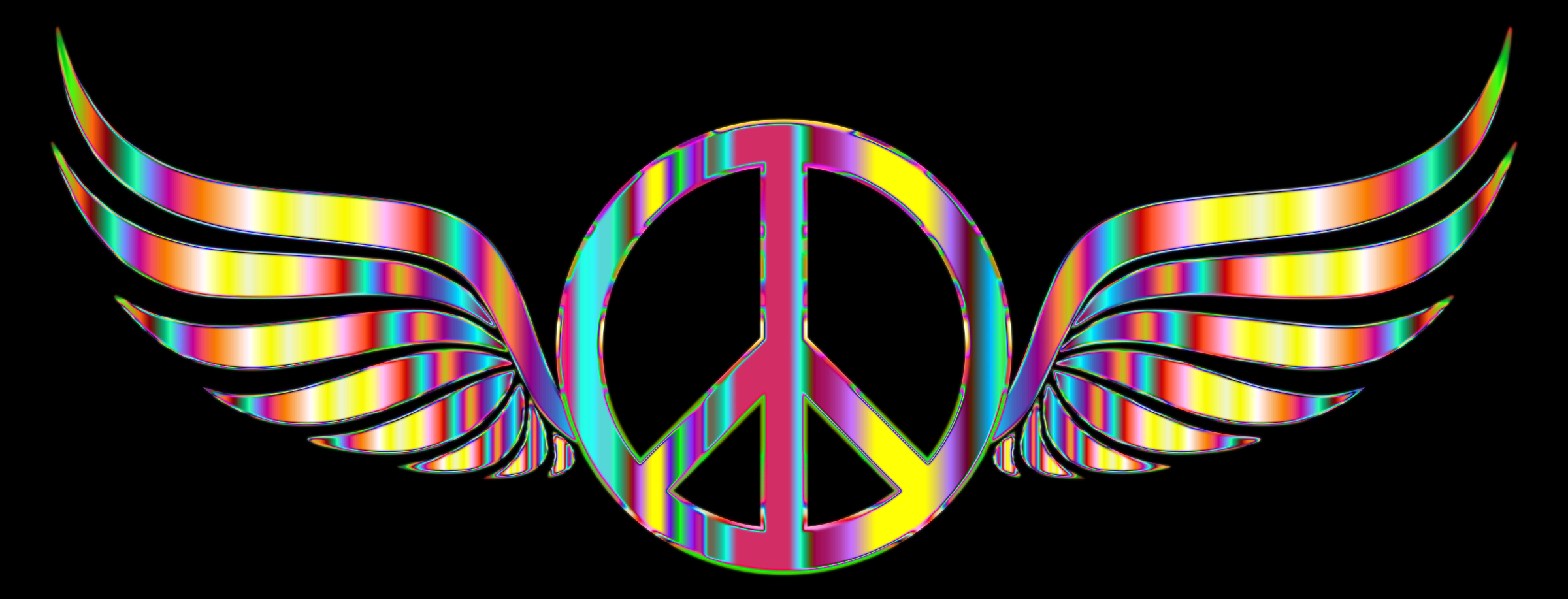 Gold Peace Sign Wings Psychedelic by GDJ