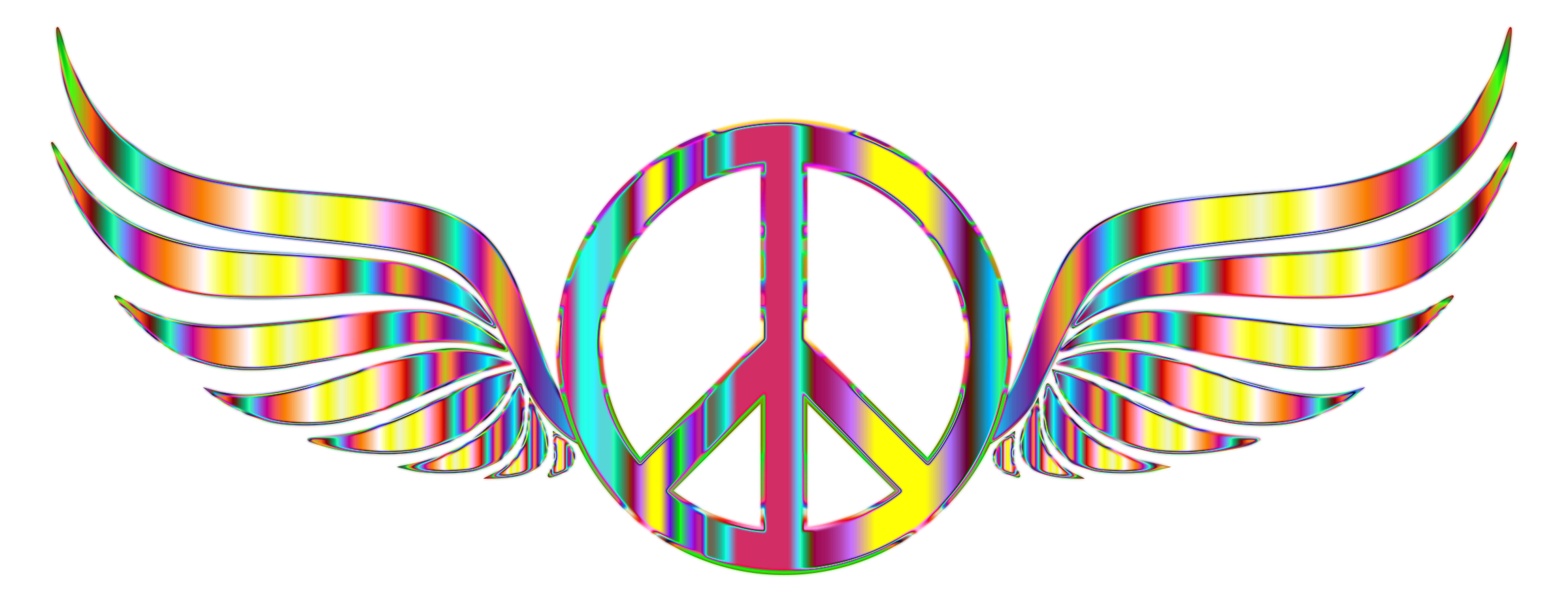 Gold Peace Sign Wings Psychedelic No Background by GDJ