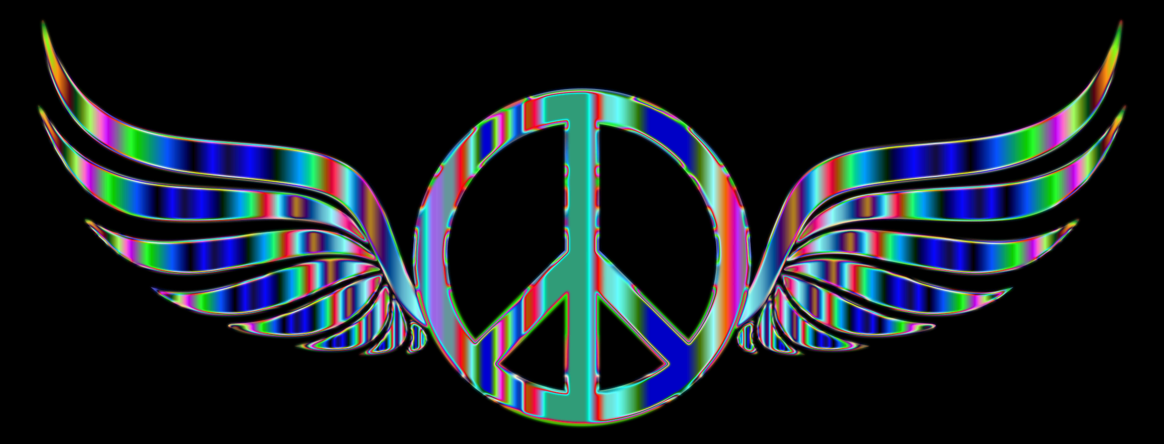Gold Peace Sign Wings Psychedelic 2 by GDJ