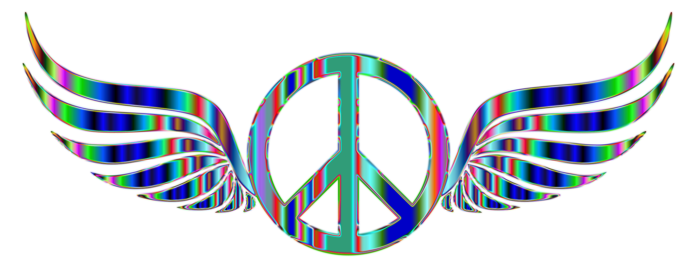 Gold Peace Sign Wings Psychedelic 2 No Background by GDJ
