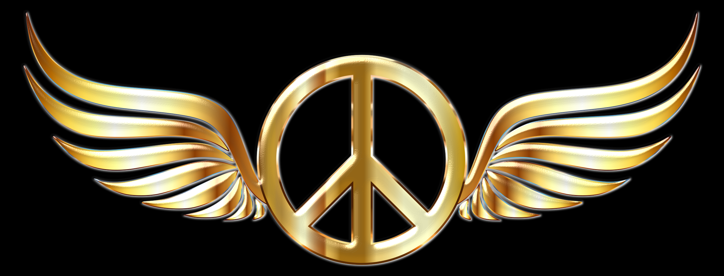 Gold Peace Sign Wings Enhanced 2 by GDJ