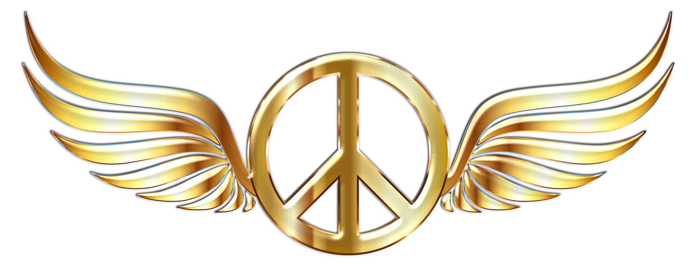 Gold Peace Sign Wings Enhanced 2 No Background by GDJ