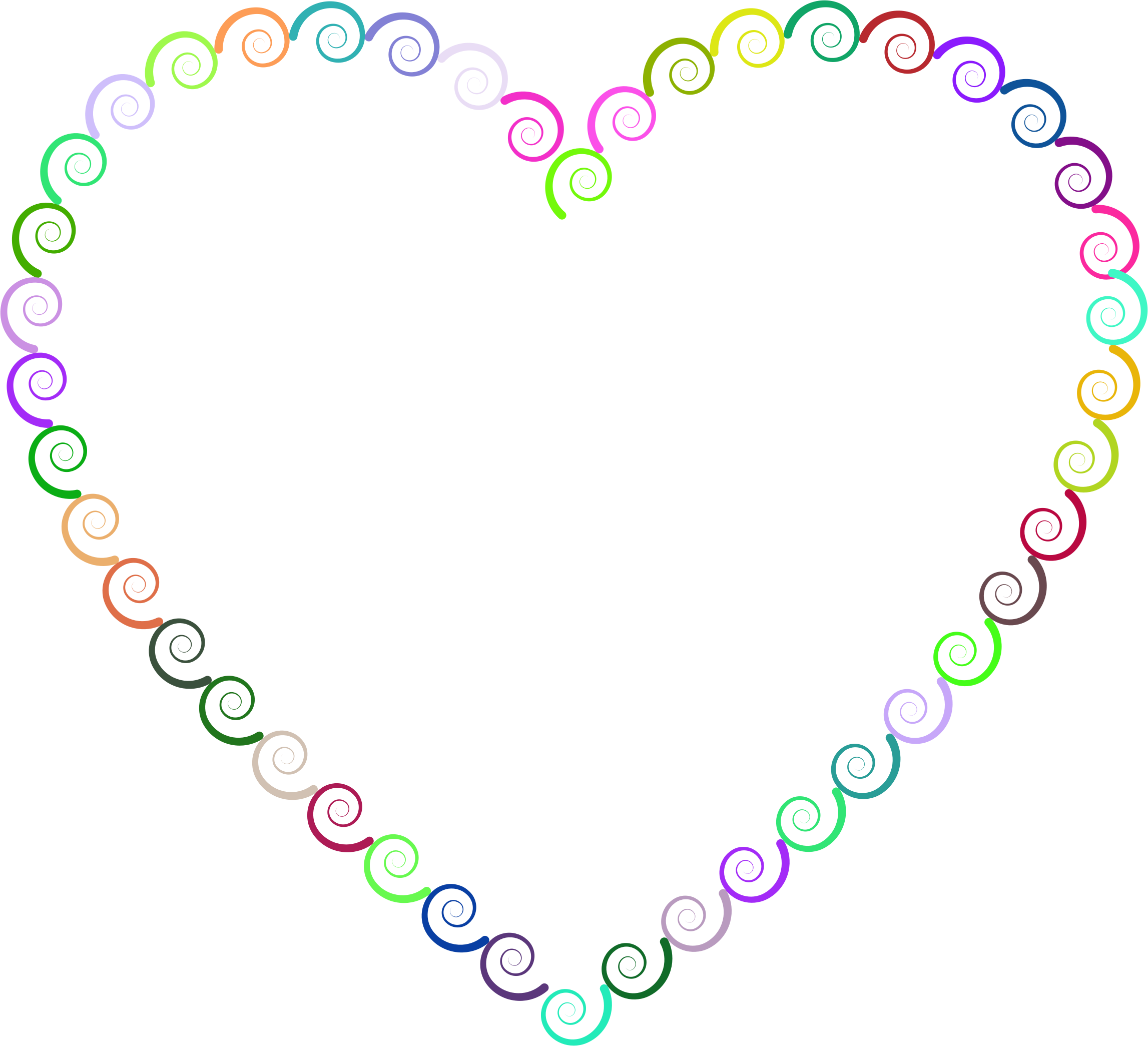 Colorful Spirals Heart by GDJ