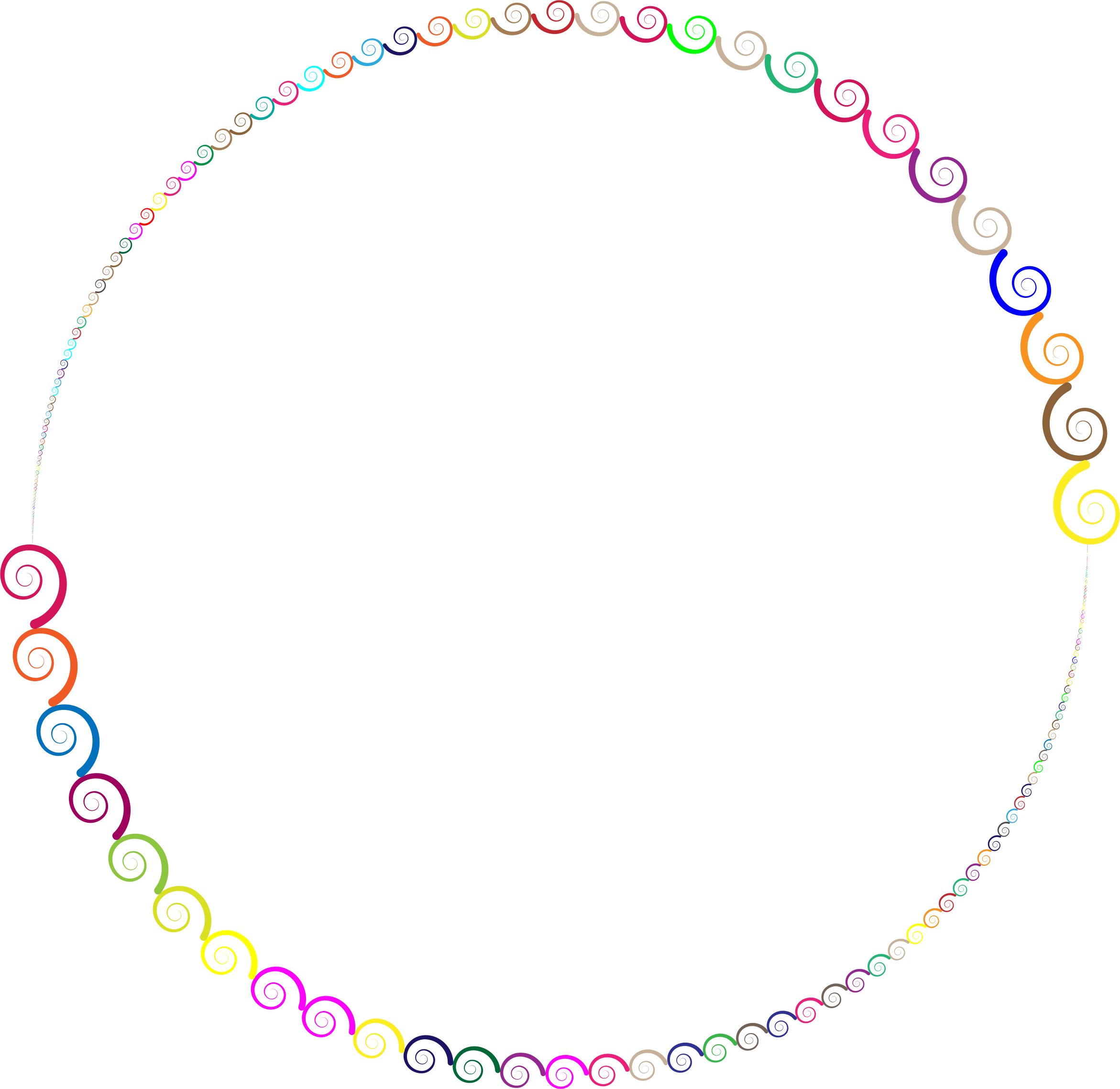 Colorful Spirals Circle by GDJ