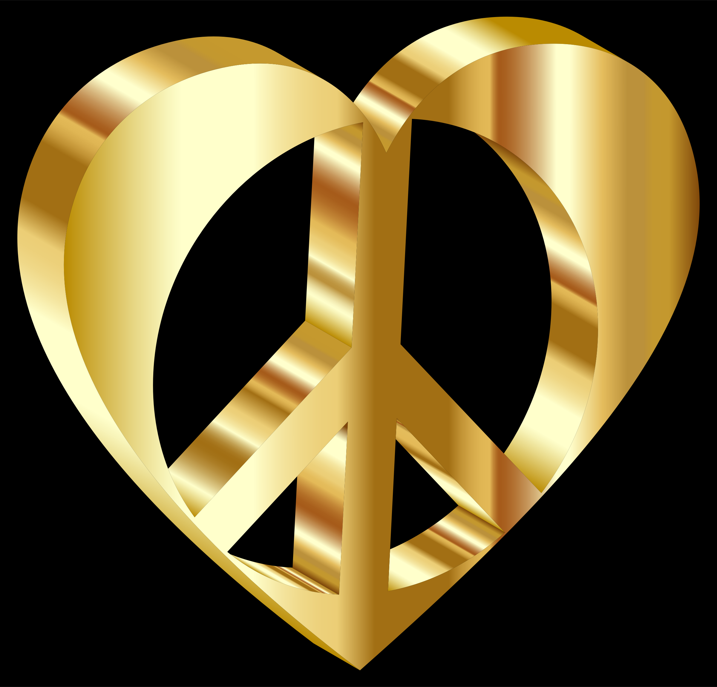 3D Peace Heart Mark II Gold With Background by GDJ