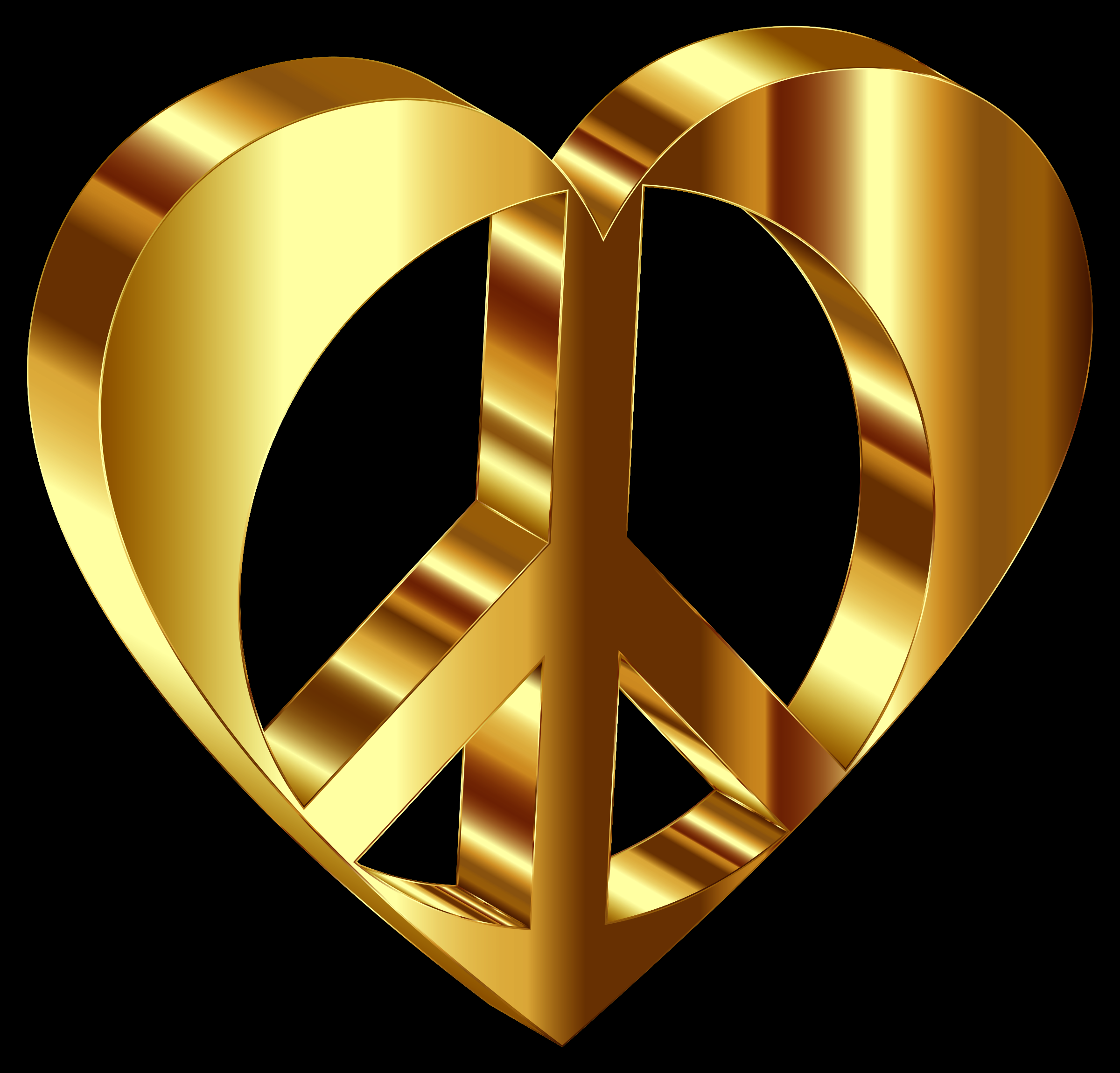 3D Peace Heart Mark II Gold Variation 2 Enhanced Contrast With Background by GDJ